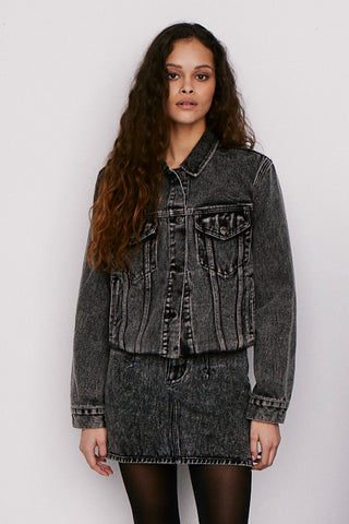 Naya Cropped Boyfriend Denim Jacket - Salt and Pepper