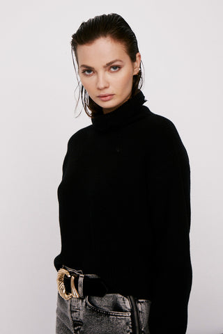 Brandy Turtleneck Pullover - Jet Black