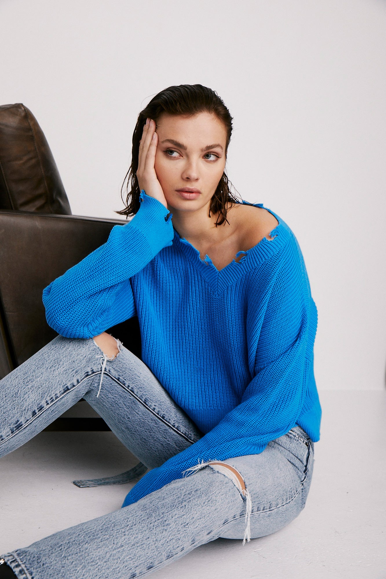 Gracie V Neck Sweater - Ibiza Blue