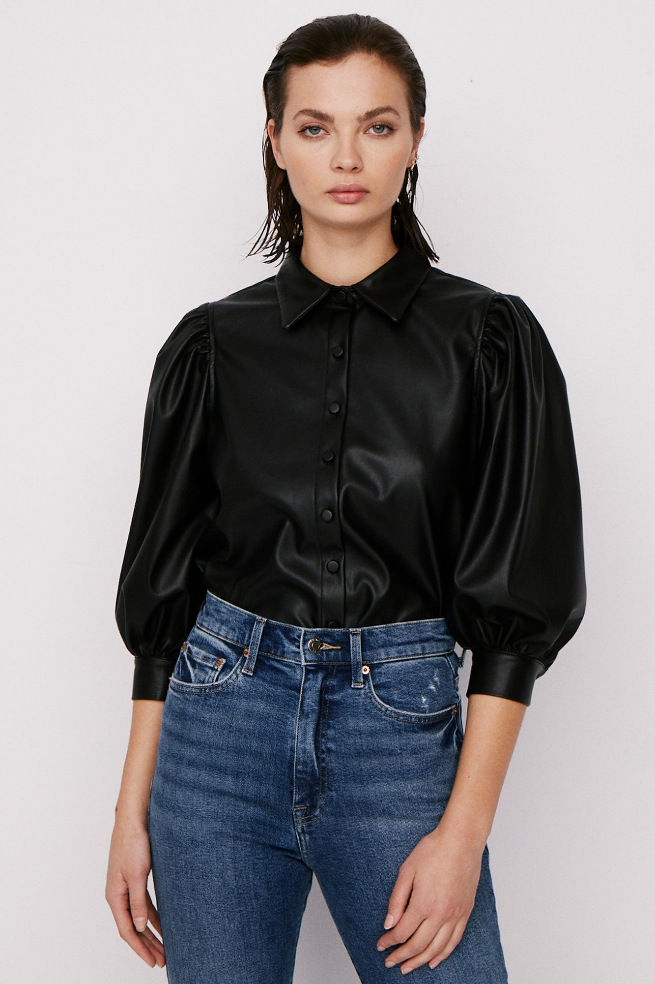 Adina Puff Sleeve Shirt - Black