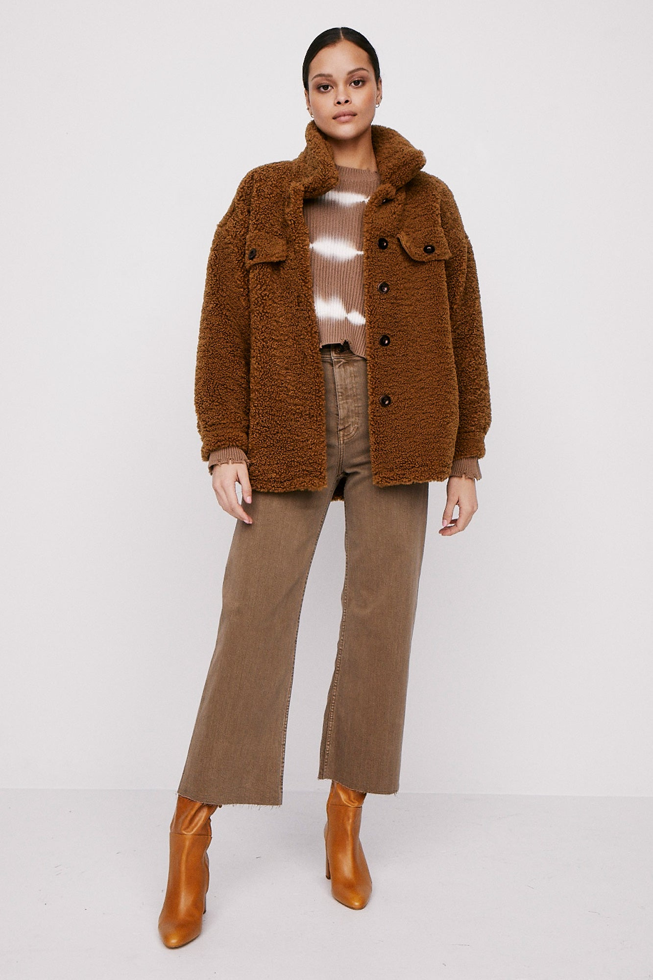 Nicki Sherpa Trucker Jacket - Camel