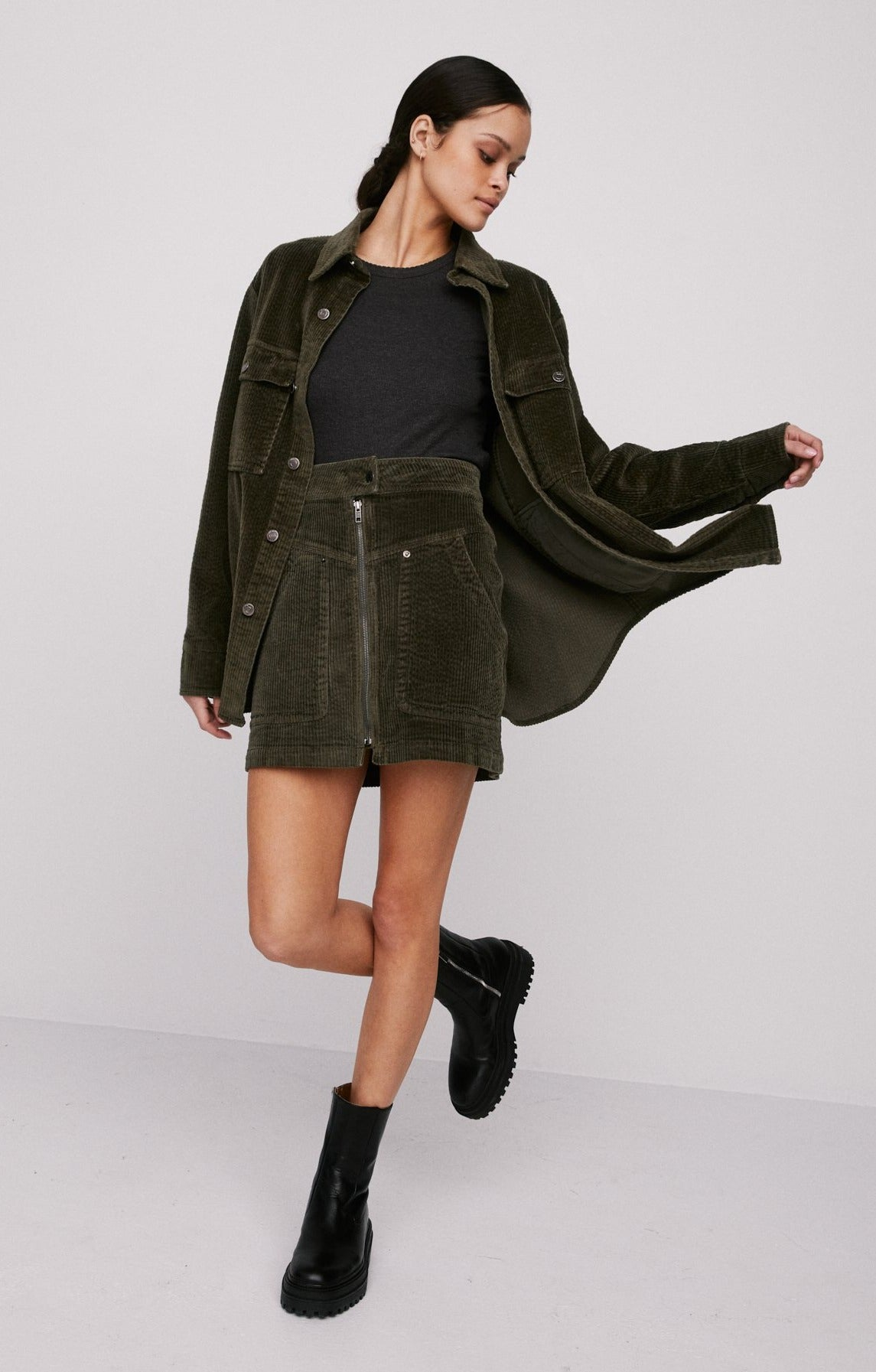 Roxy Cord Skirt - Blackened Olive