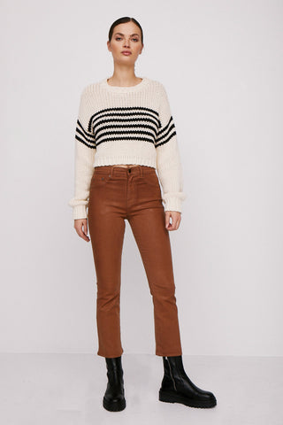 Nisha Crew Neck Cropped Pullover - Cream Black Stripe