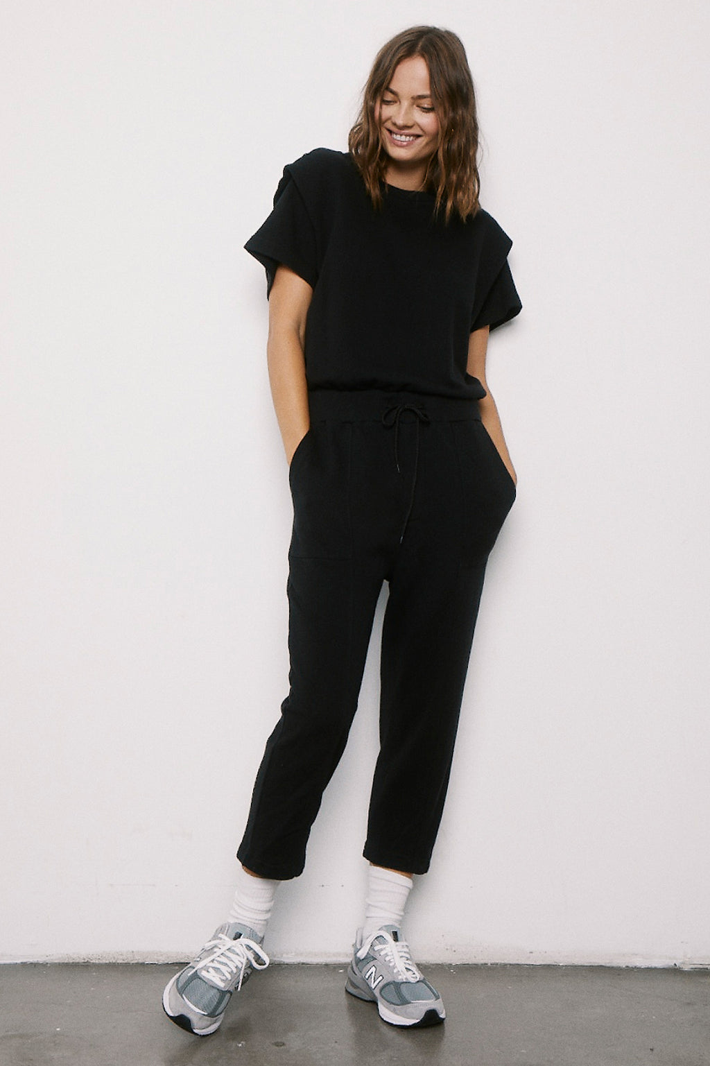 Clarisse French Terry Shoulder Pleat Jumpsuit - Black
