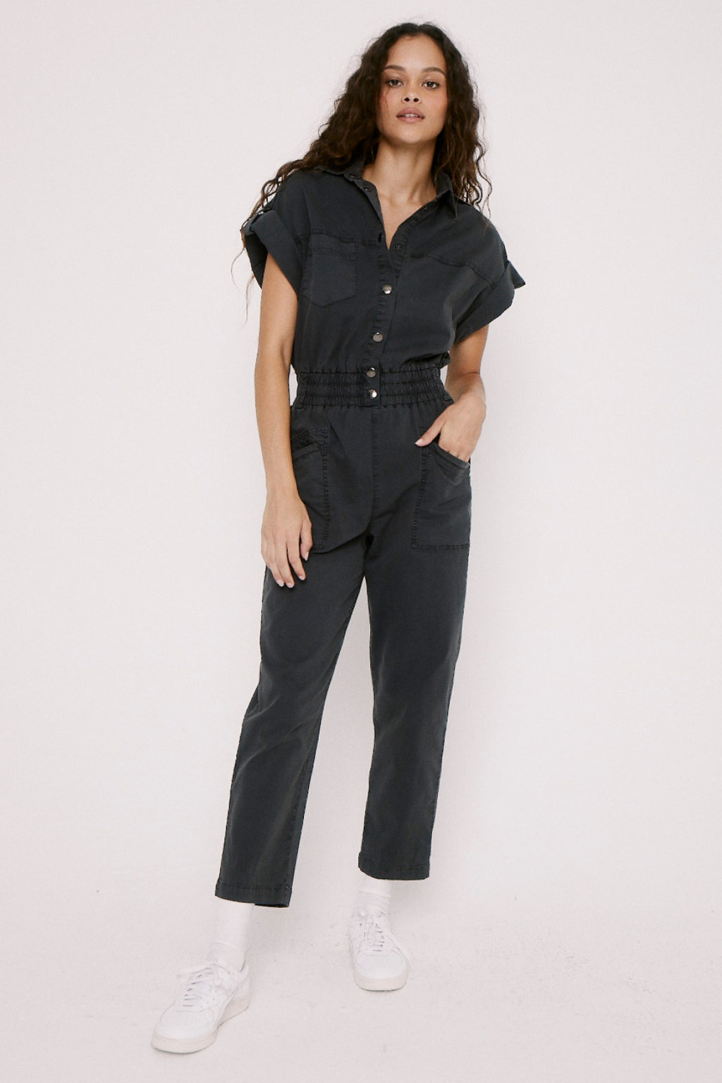 Dani Lightweight Dolman Pull On Jumpsuit - Asphalt
