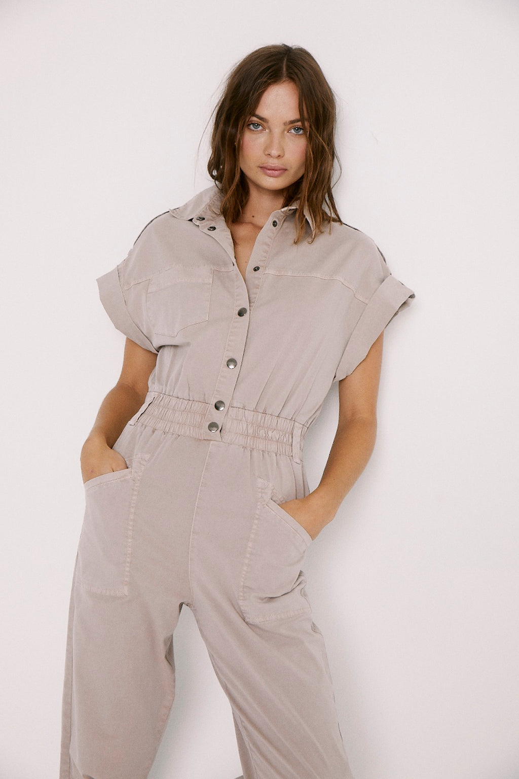 Dani Lightweight Dolman Pull On Jumpsuit - Bark