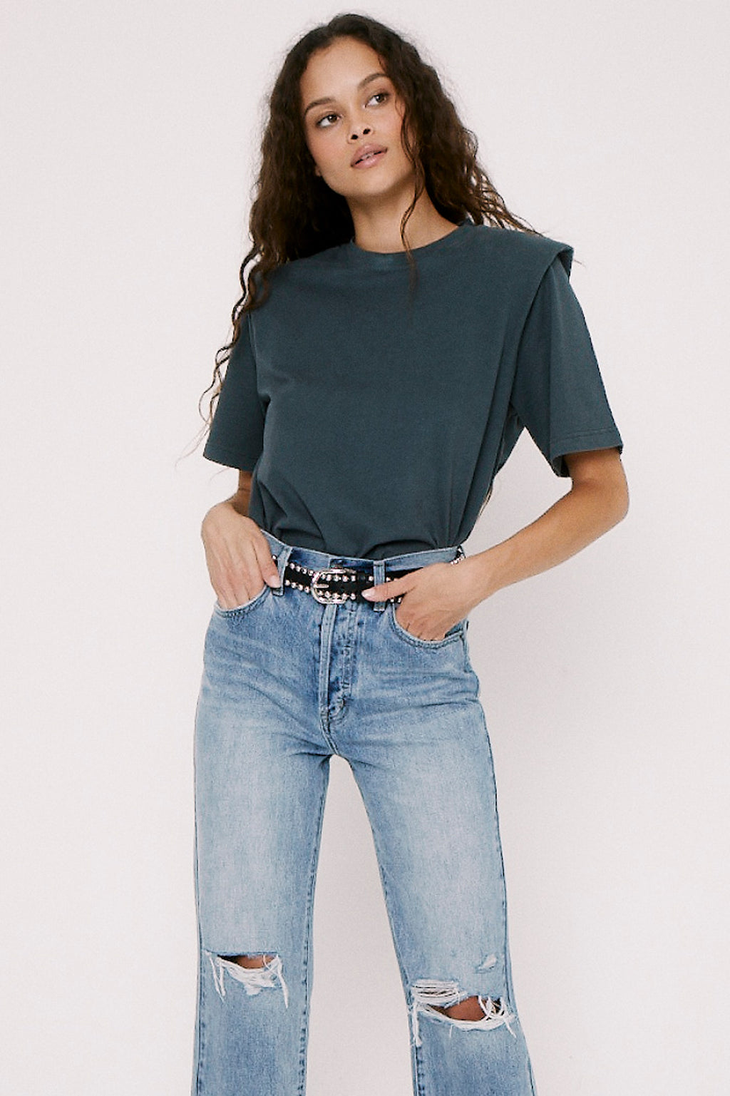 Brileigh Shoulder Pad Pleat Tee - Dove Grey