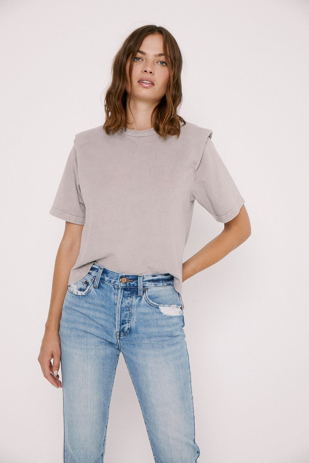 Brileigh Shoulder Pad Pleat Tee - Barnk