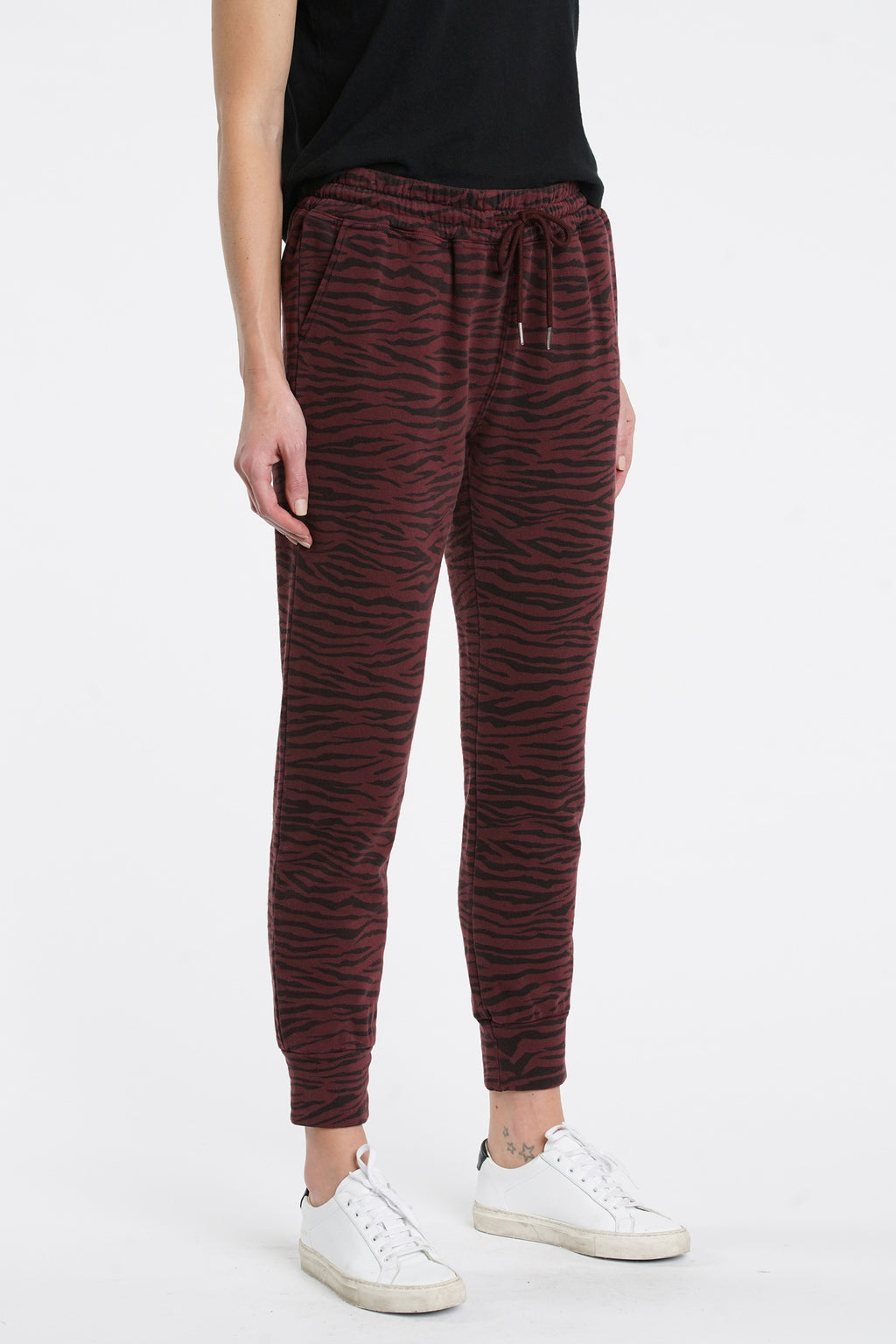 Alessa Slim Straight Leg Sweat-pant - Black Cherry Tiger