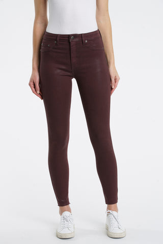 Aline High Rise Skinny - Coated Black Cherry