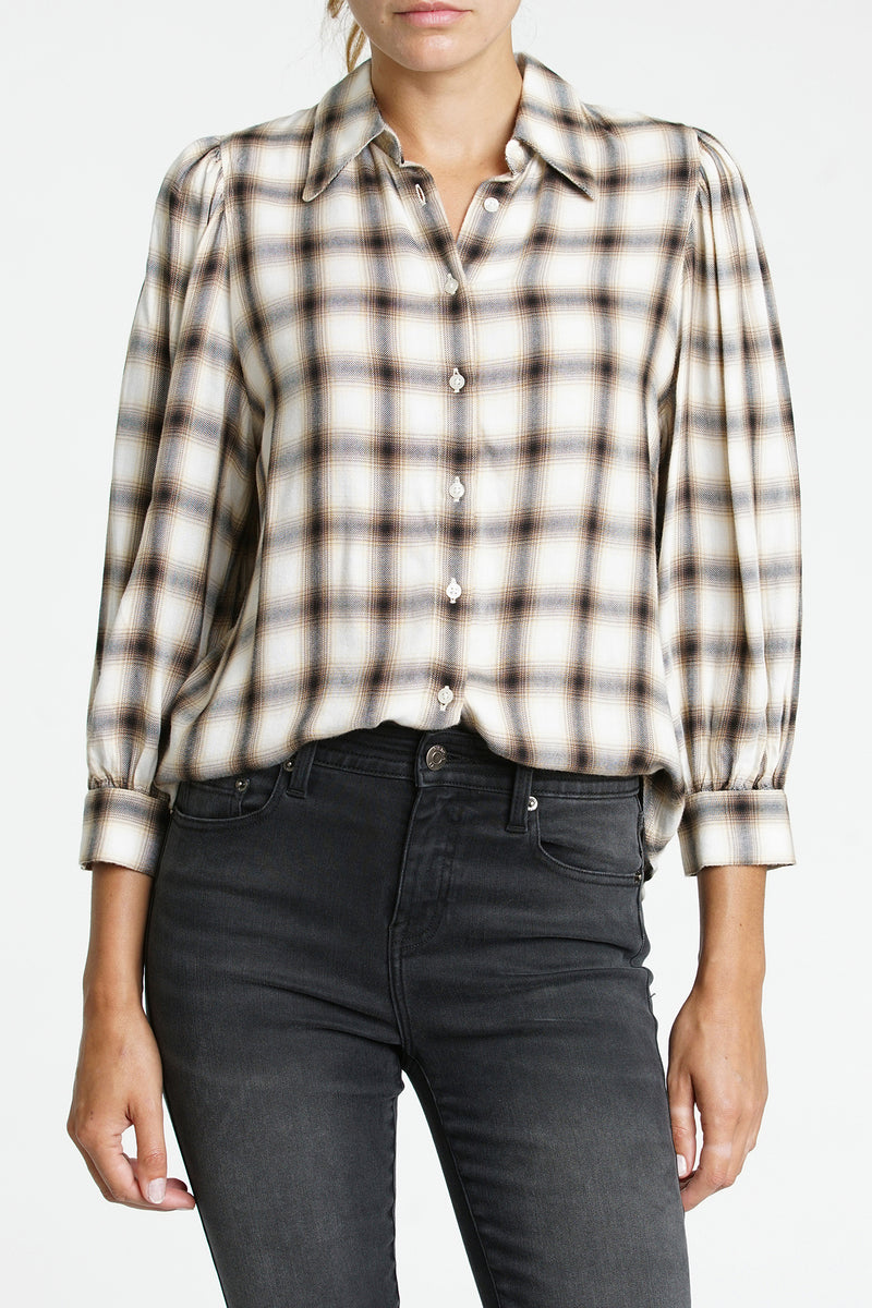 Ariella Puff Sleeve Shirt - Sunset Plaid