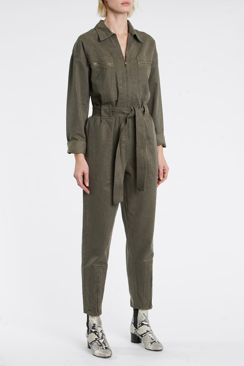 Ash Zip Up Jumpsuit - Blackened Olive