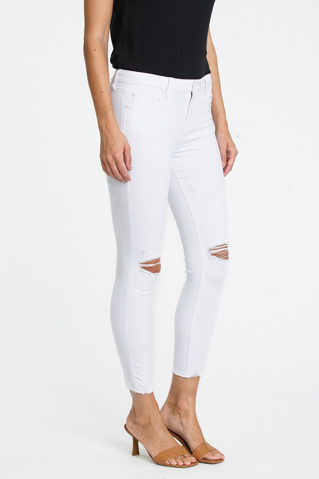 Audrey Mid Rise Skinny Crop - Wrecked Pearl