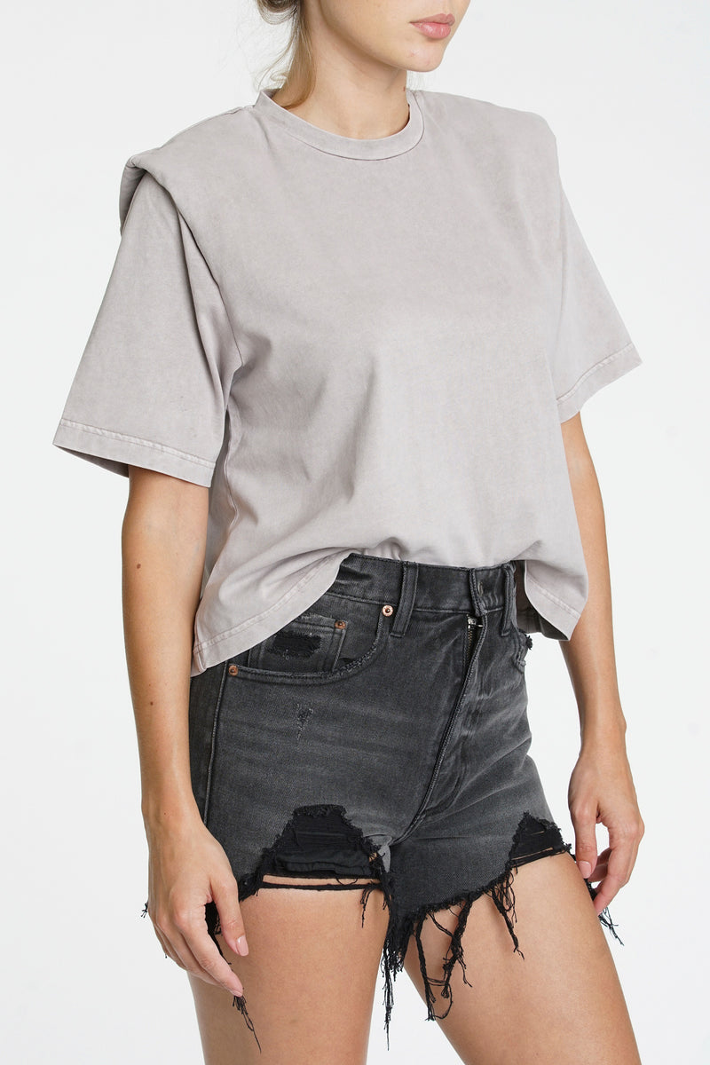 Brileigh Shoulder Pad Pleat Tee - Bark