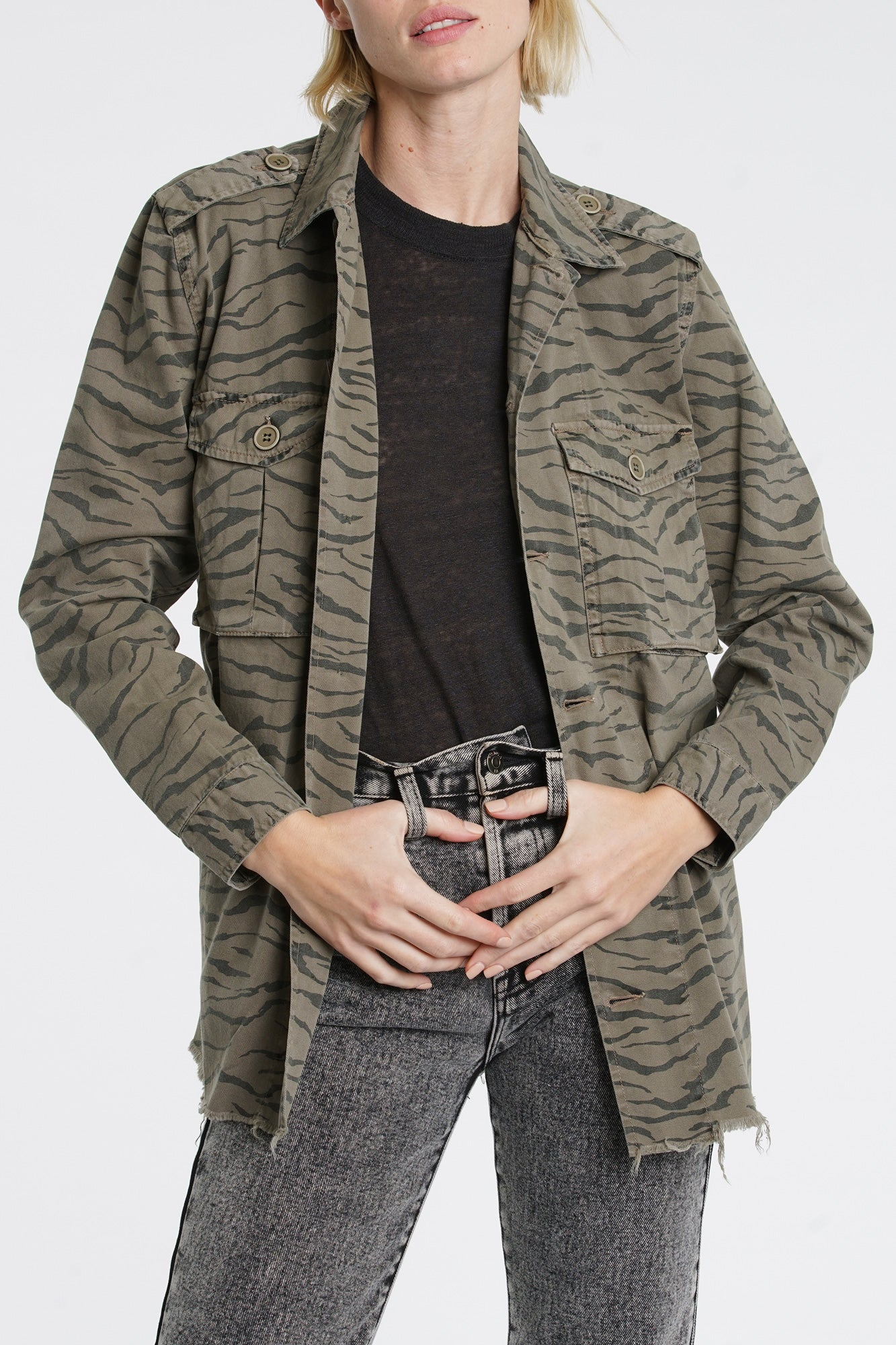 Camilo Military Jacket - Cadet Olive Tiger