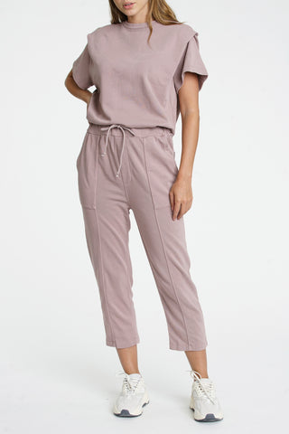 Clarisse French Terry Shoulder Pleat Jumpsuit - Cameo Pink