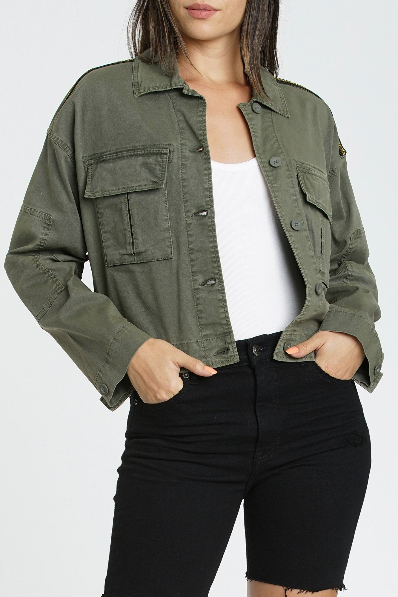 Cove Cropped Military Jacket - Sweet Bay Olive