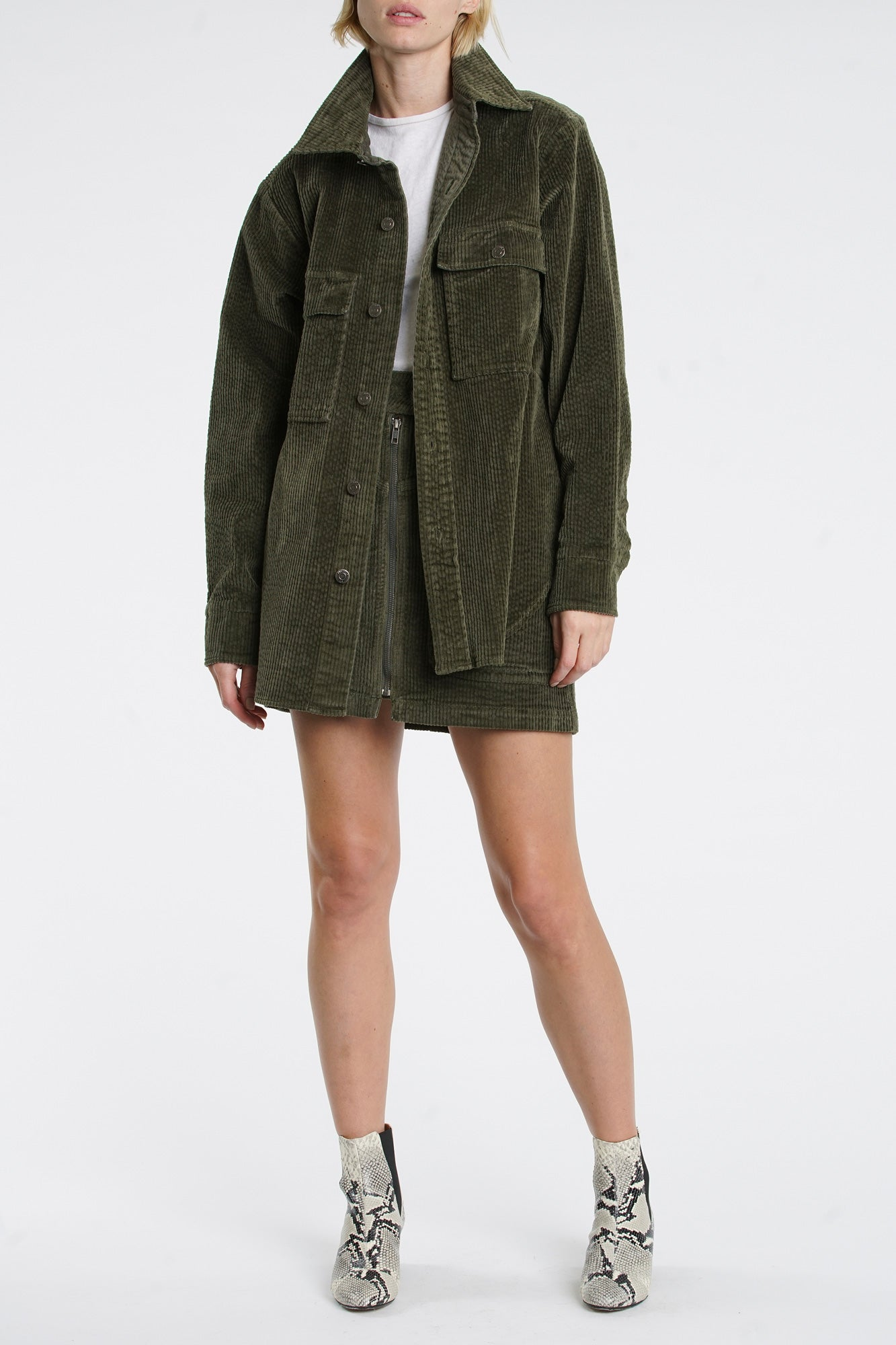Eliza Cord Jacket - Blackened Olive
