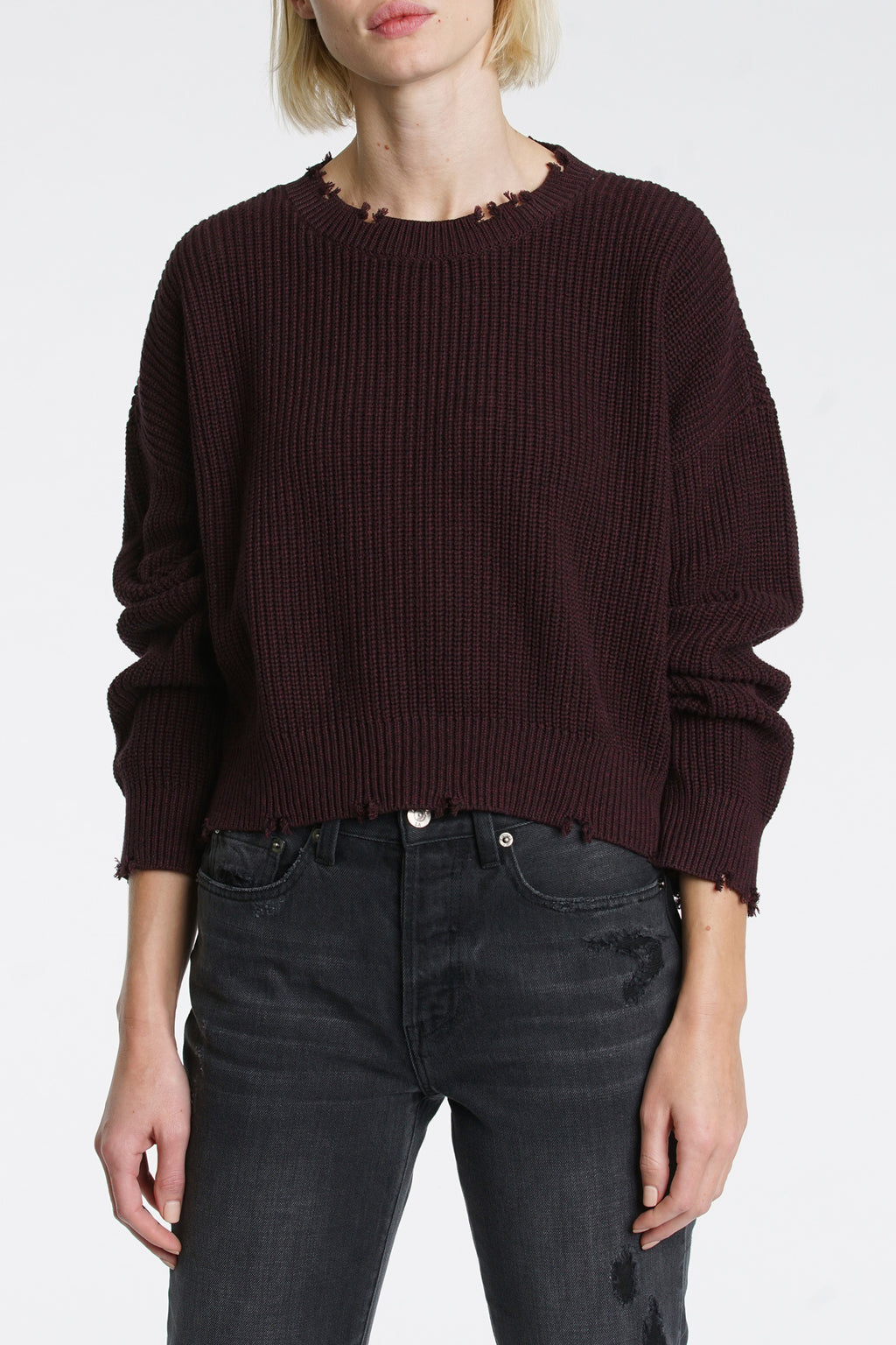 Eva Cropped Sweater - Black Cherry