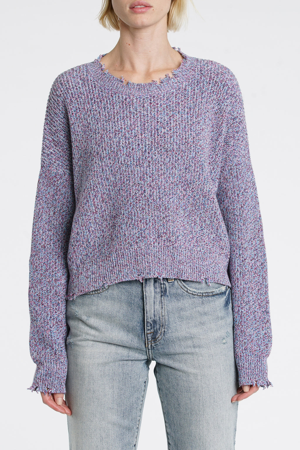 Eva Marbled Crop Sweater - Heart Breaker