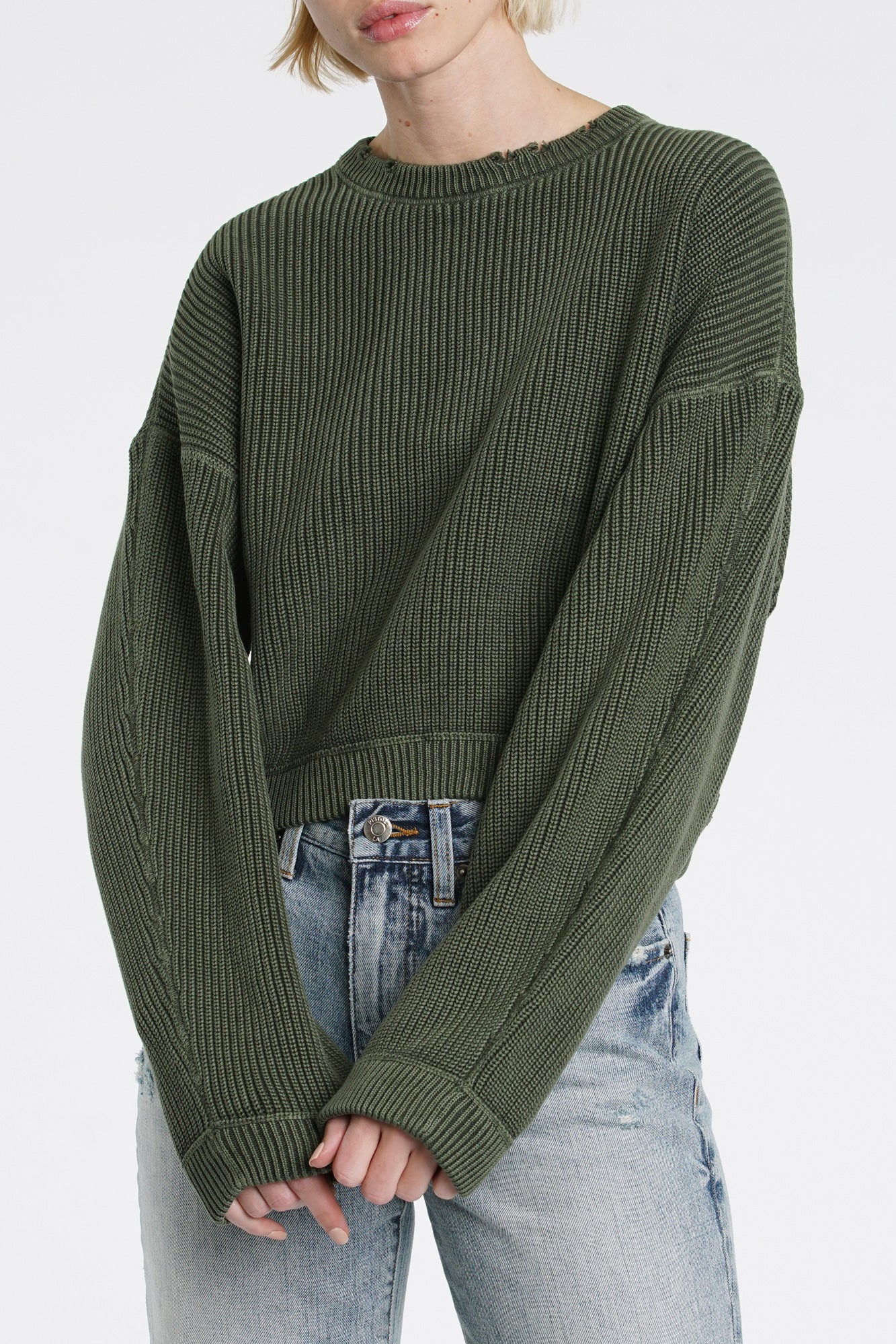 Frances Cropped Sweater - Blackened Olive
