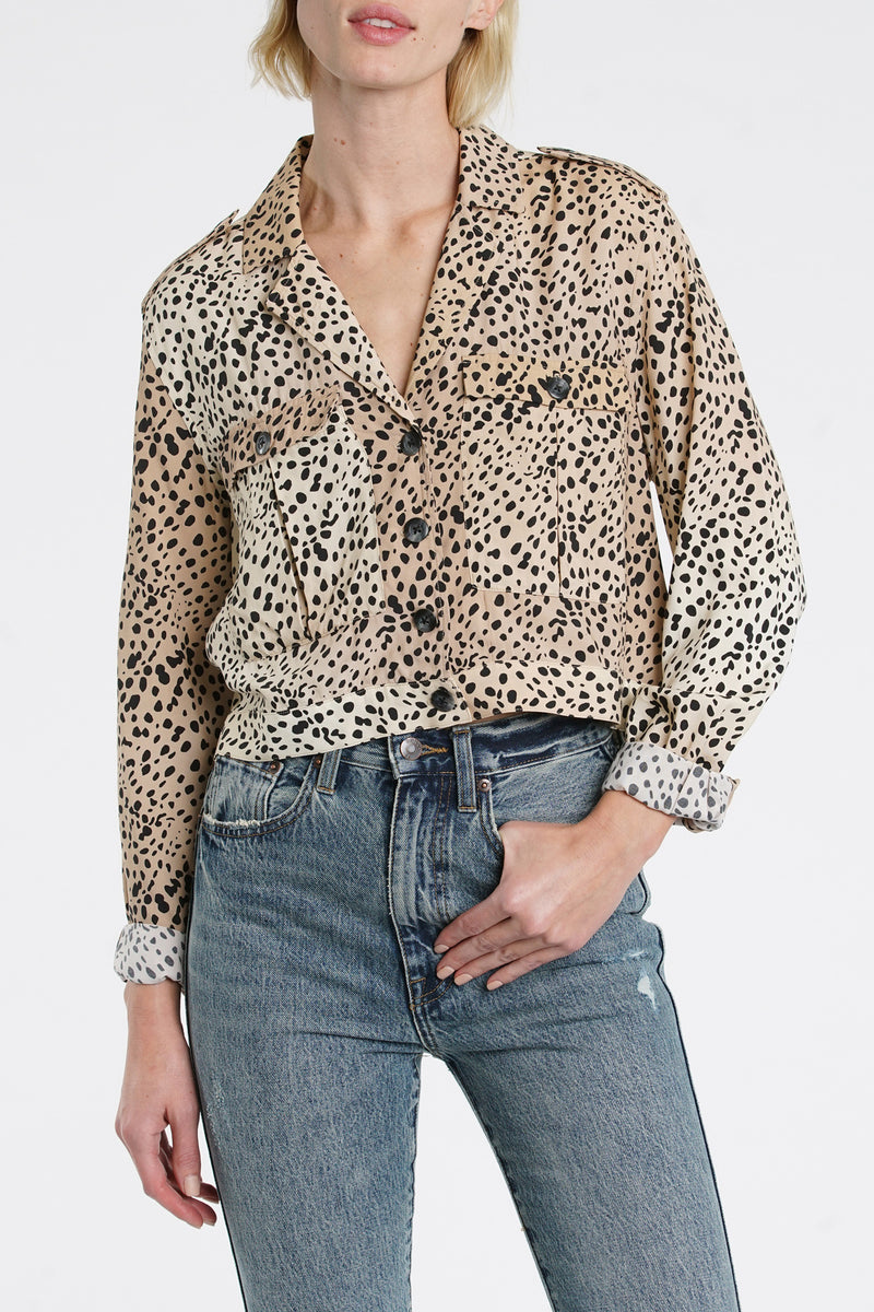 Kaine Cropped Military Shirt - Wild Spots
