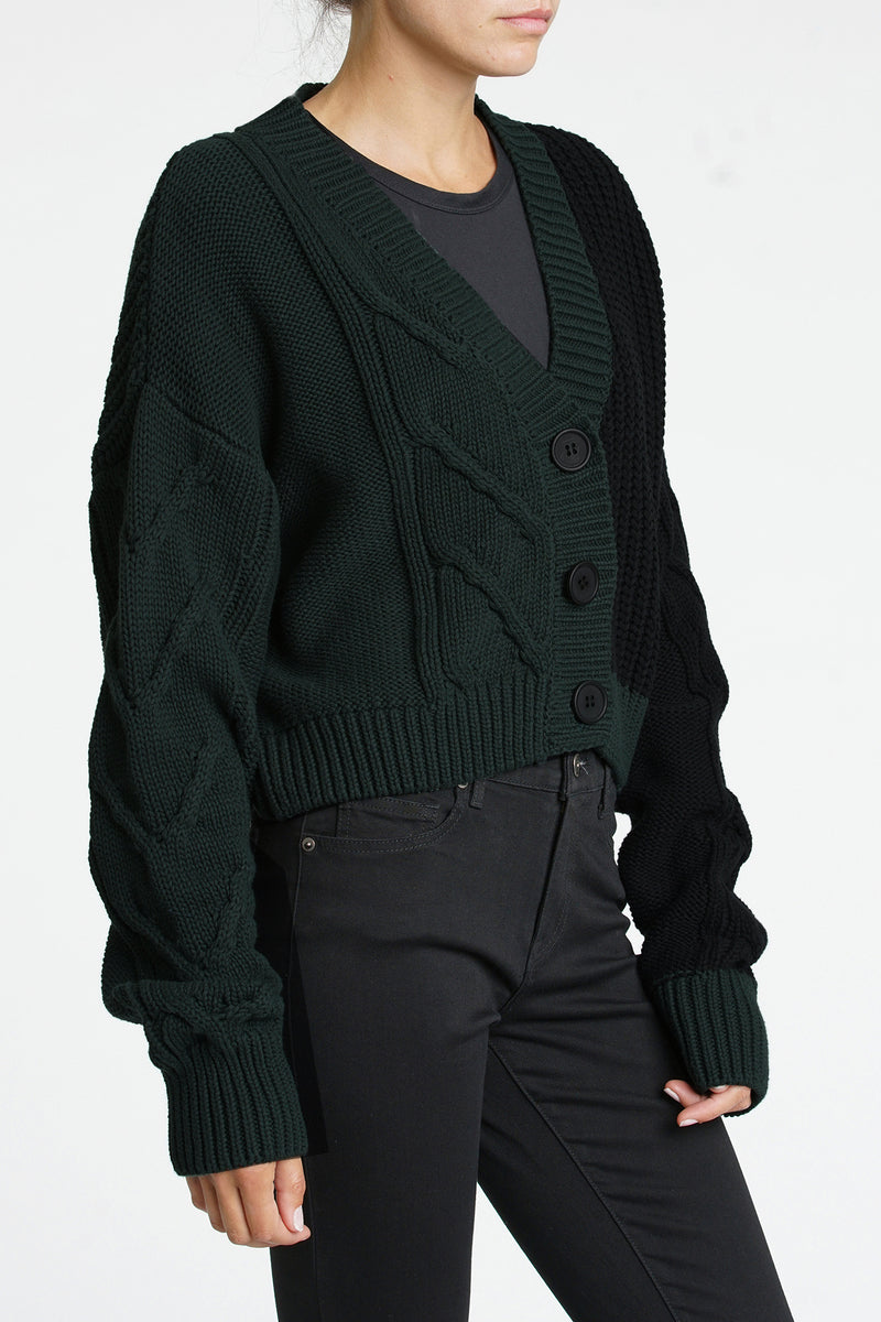 Lori V-Neck Cardigan - Forest