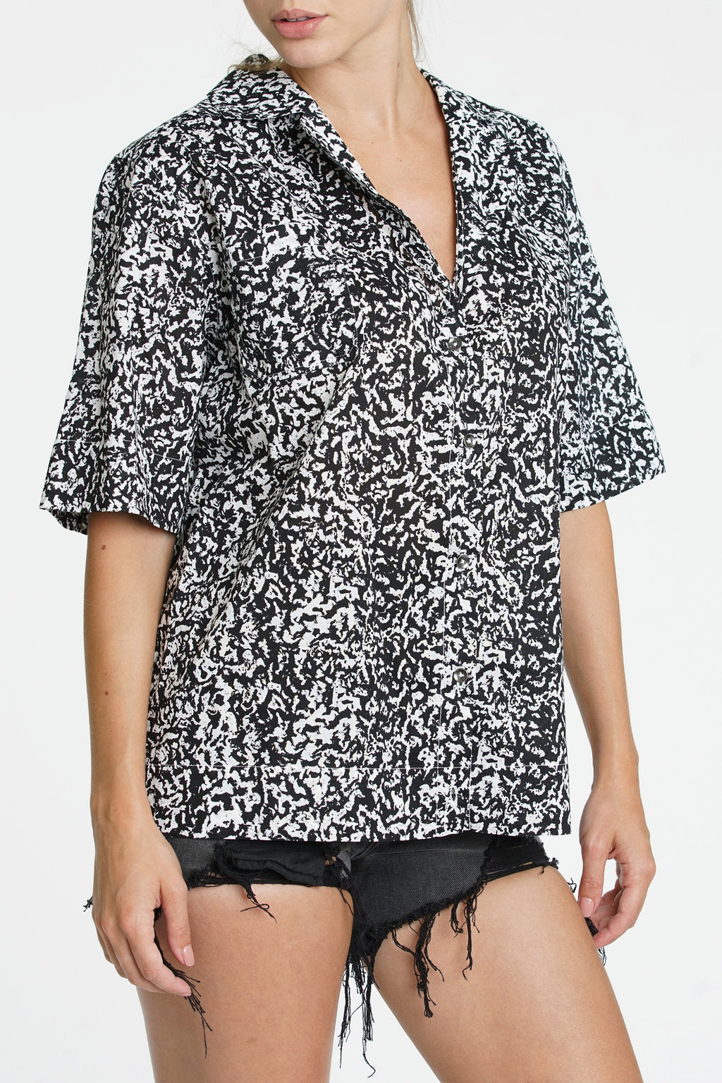 Lucy Pajama Shirt - White Noise