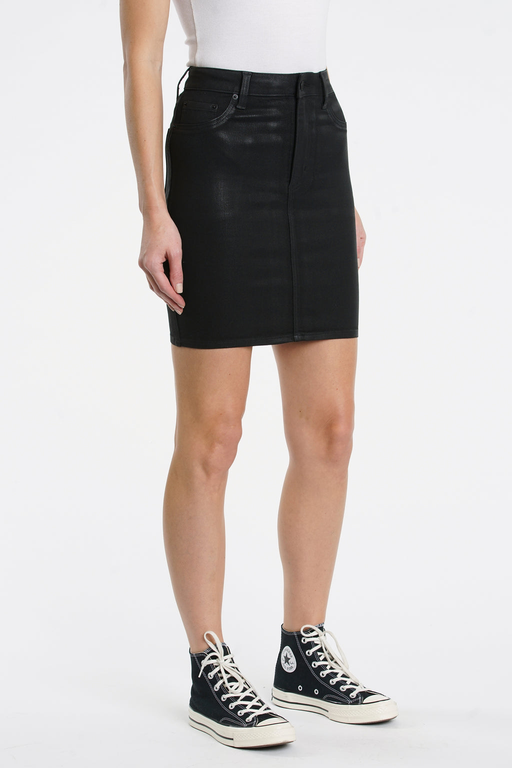 Maude Pencil Skirt - Coated Black
