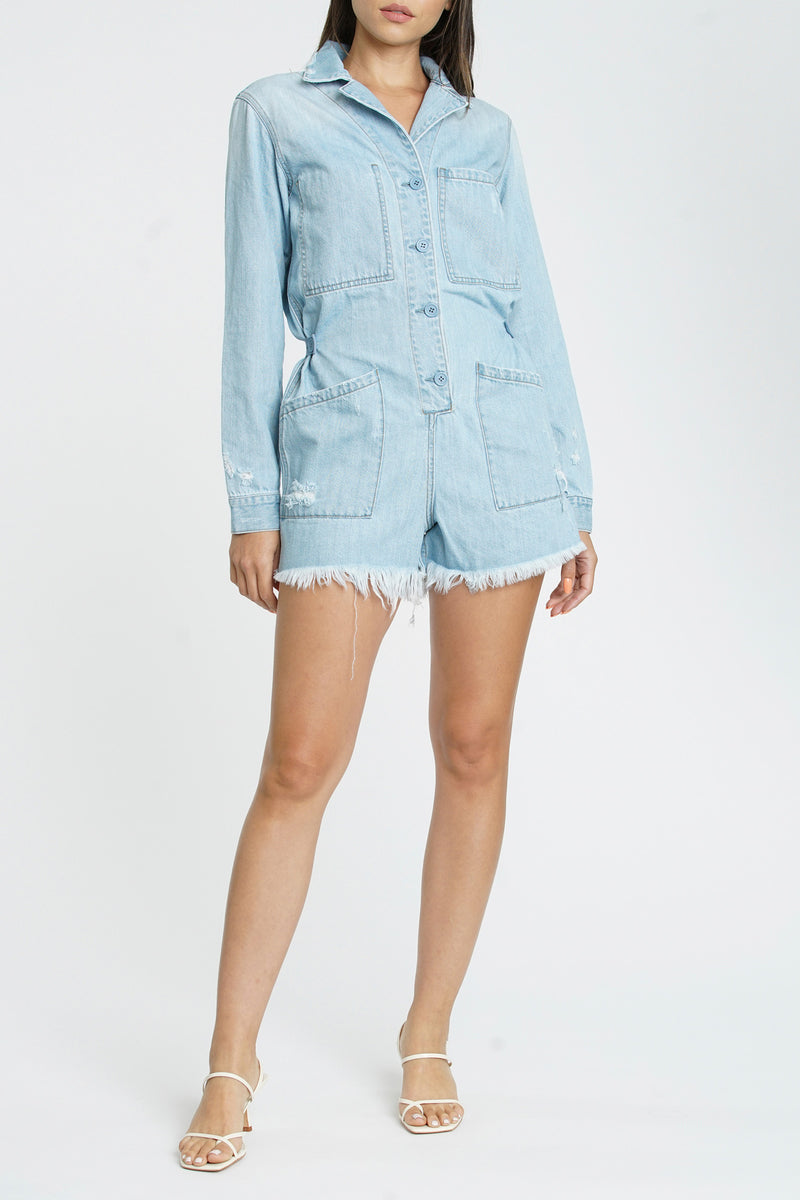 Freda Long Sleeve Button Front Romper - Salton Sea