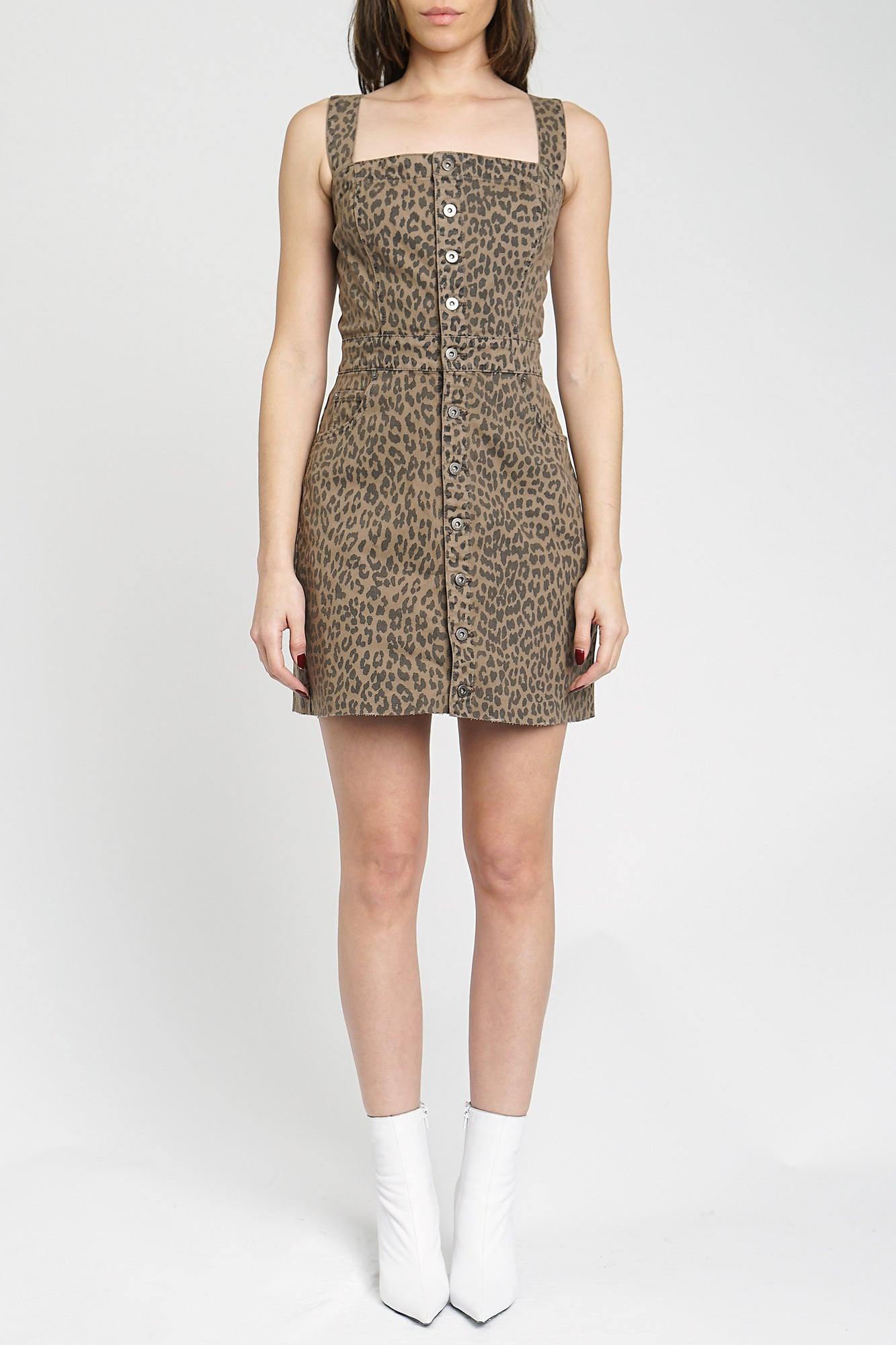 Gwen Leopard Print Button Front Dress - Running Wild