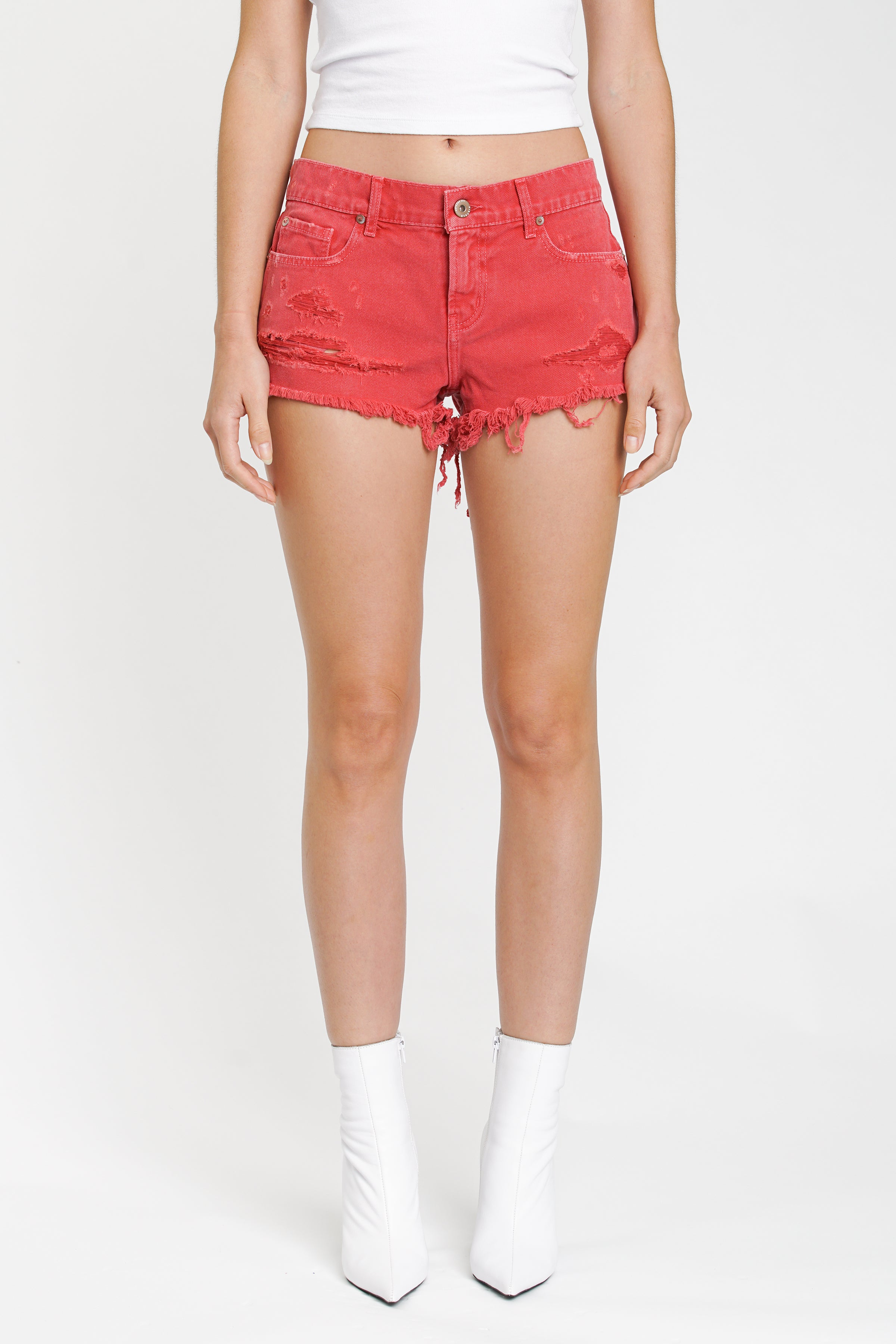 Gigi Low Rise Cut Off - Hibiscus
