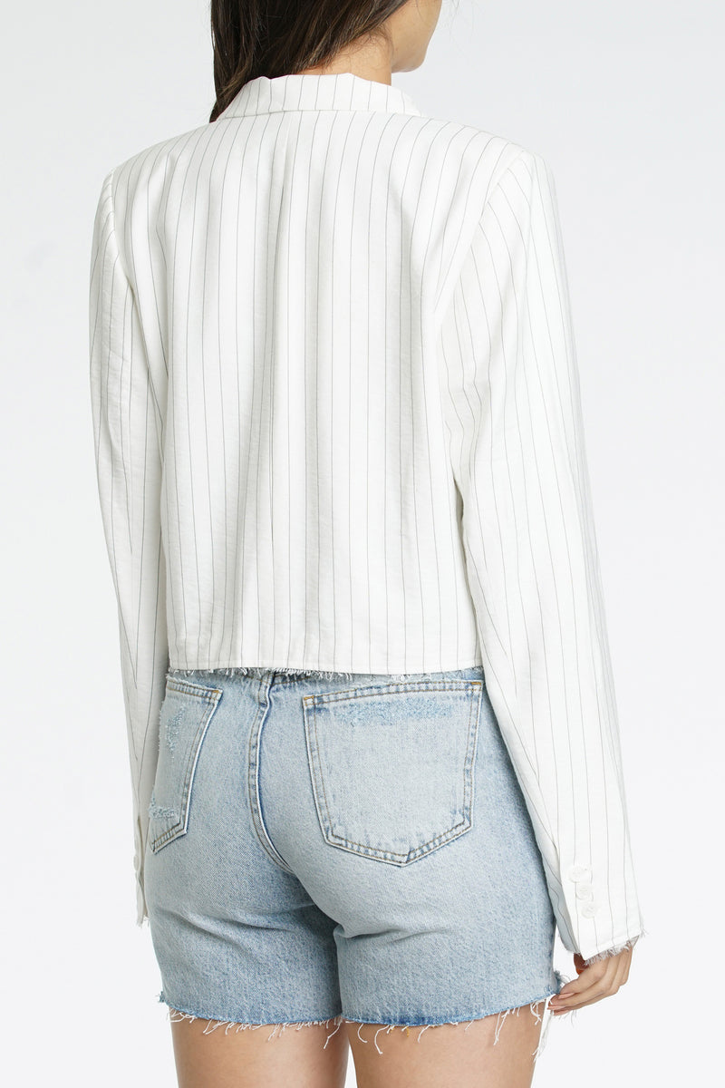Amilia Raw Edge Cropped Blazer - White Black Pinstripe