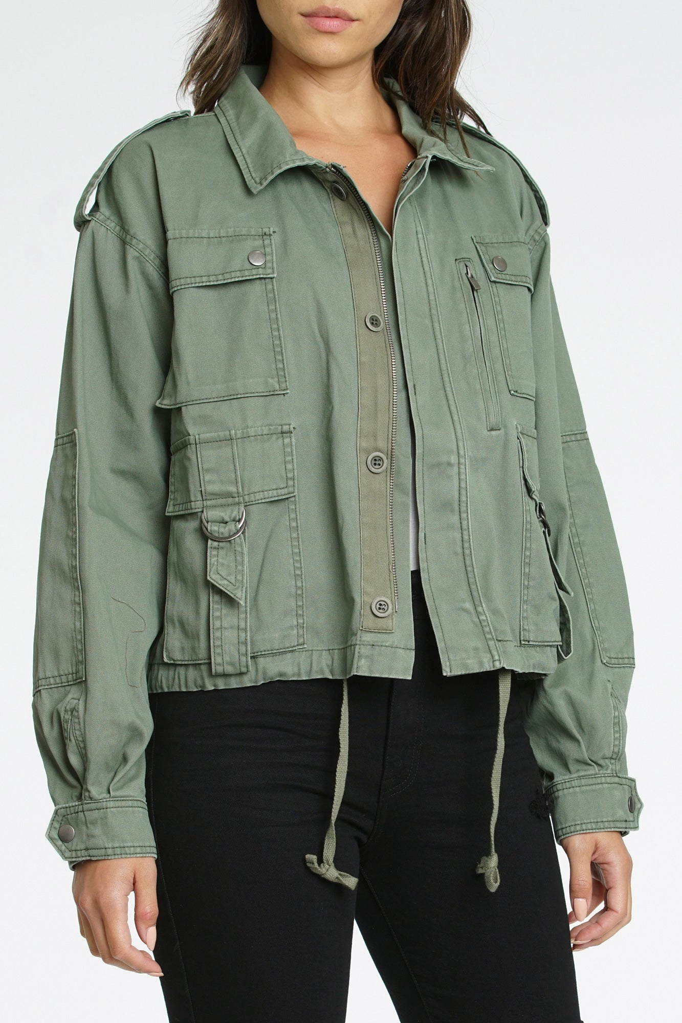 Ashton Cropped Utility Jacket - Colonel
