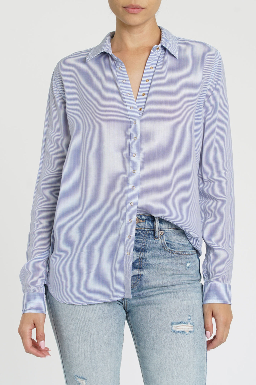 Evie Stripped Long Sleeve Button Up - Bowler