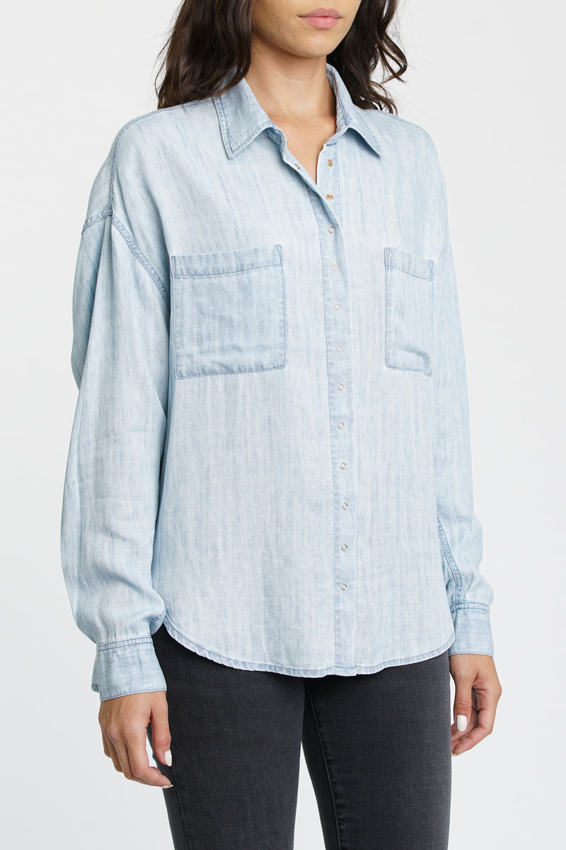 Ali Long Sleeve Oversized Button Front Shirt - Blue Jay