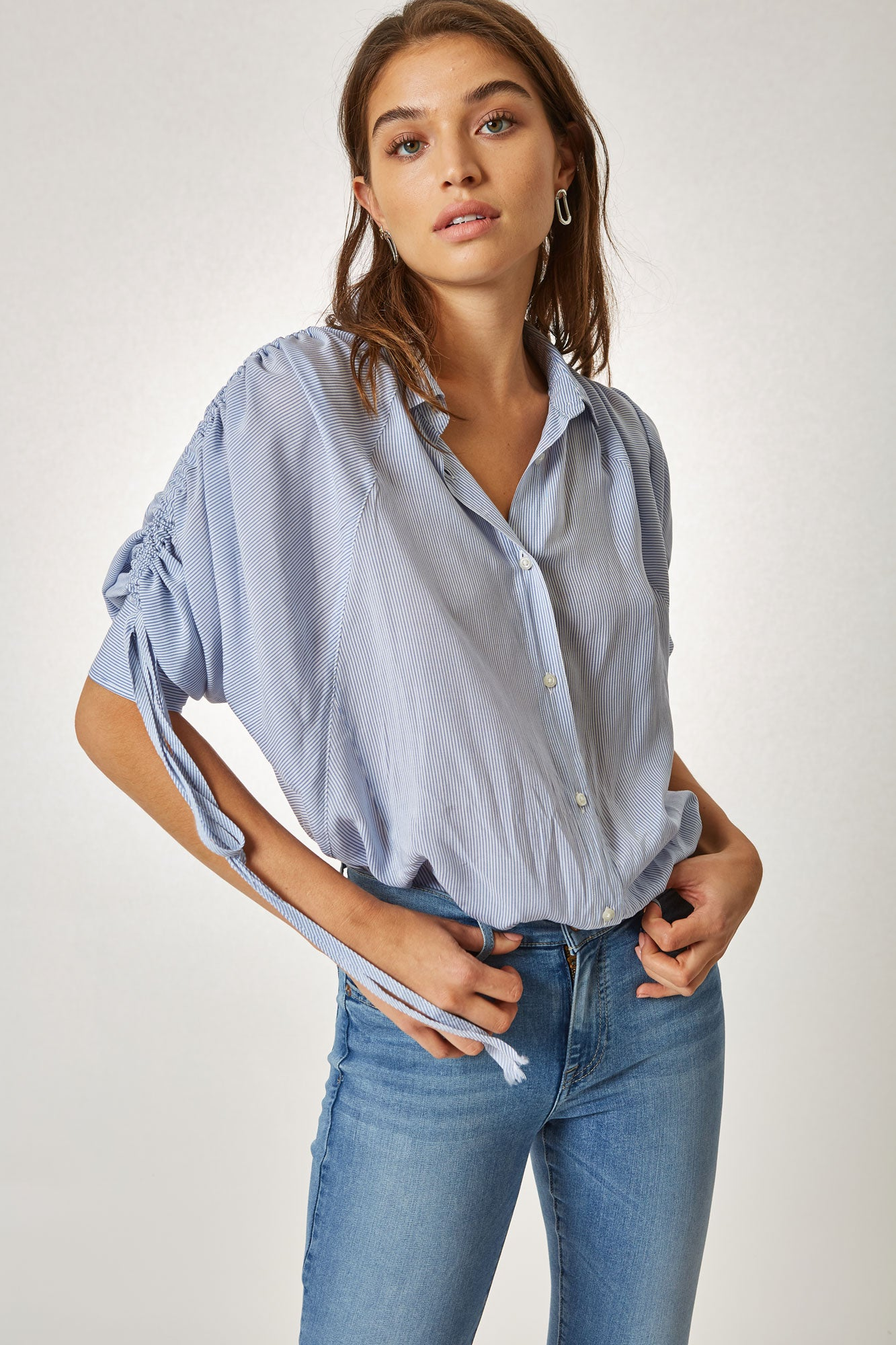 Leandra Ruched Sleeve Shirt - 1965 Stripe
