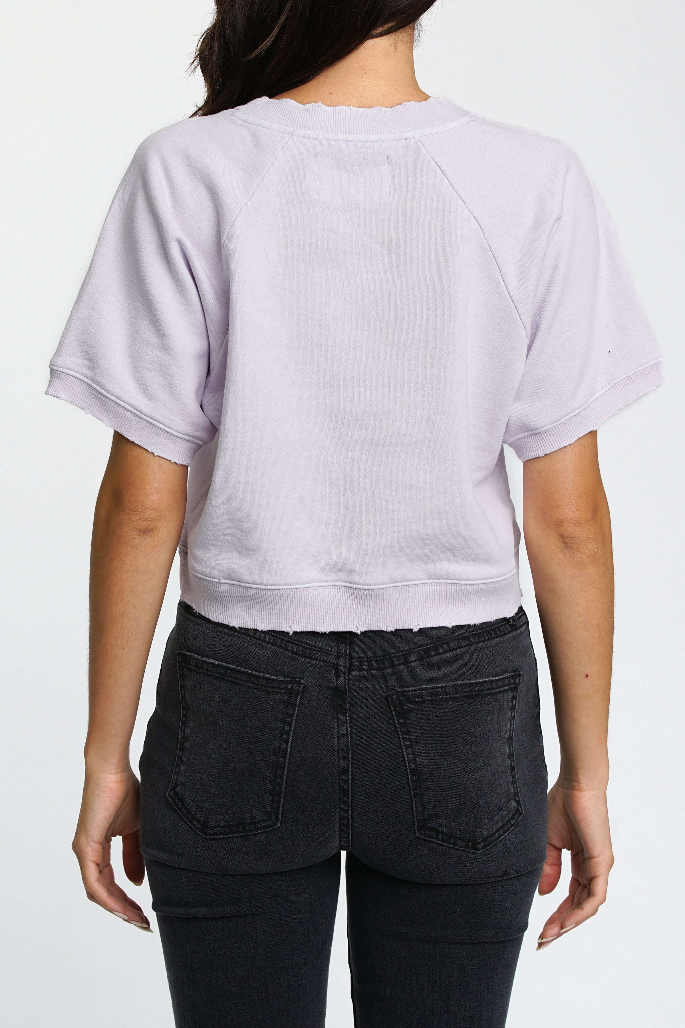 Loni Short Sleeve Cropped French Terry Pullover - Lilac Field