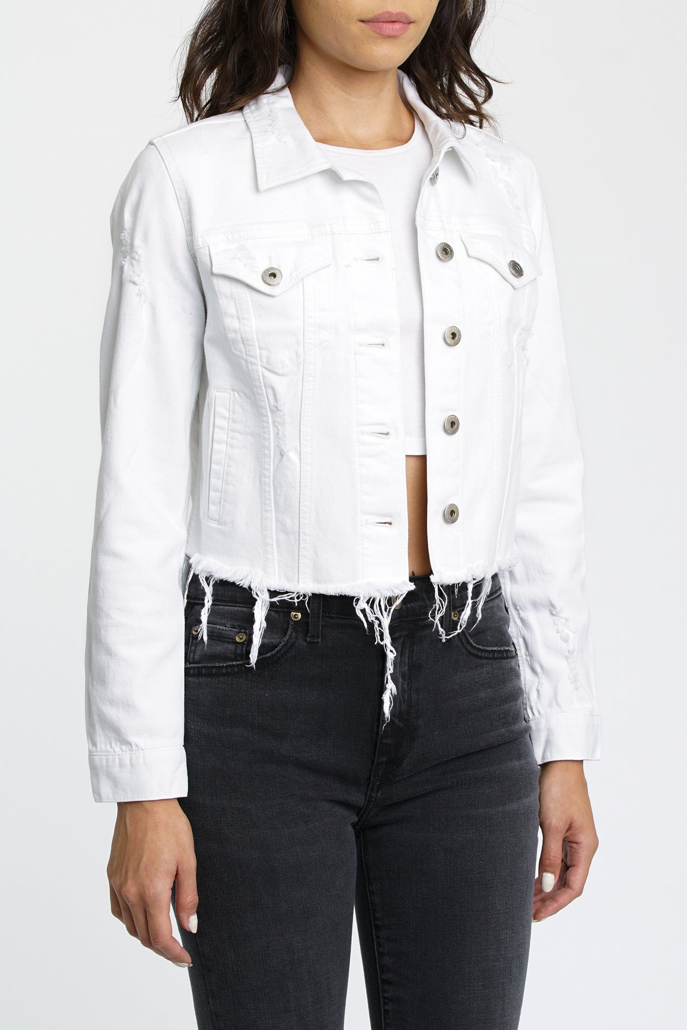 Brando Crop Fitted Denim Jacket - White Lies