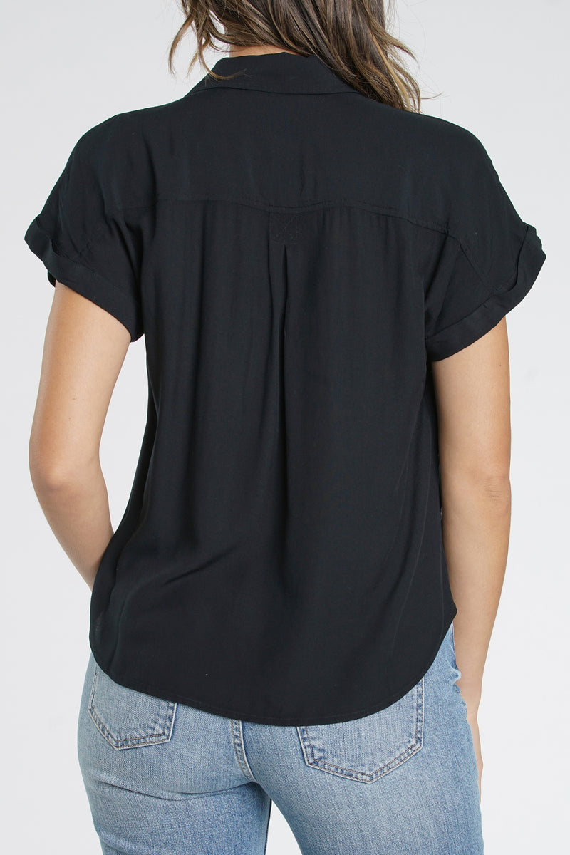 Sophie Short Sleeve Baby Snap Shirt - Onyx