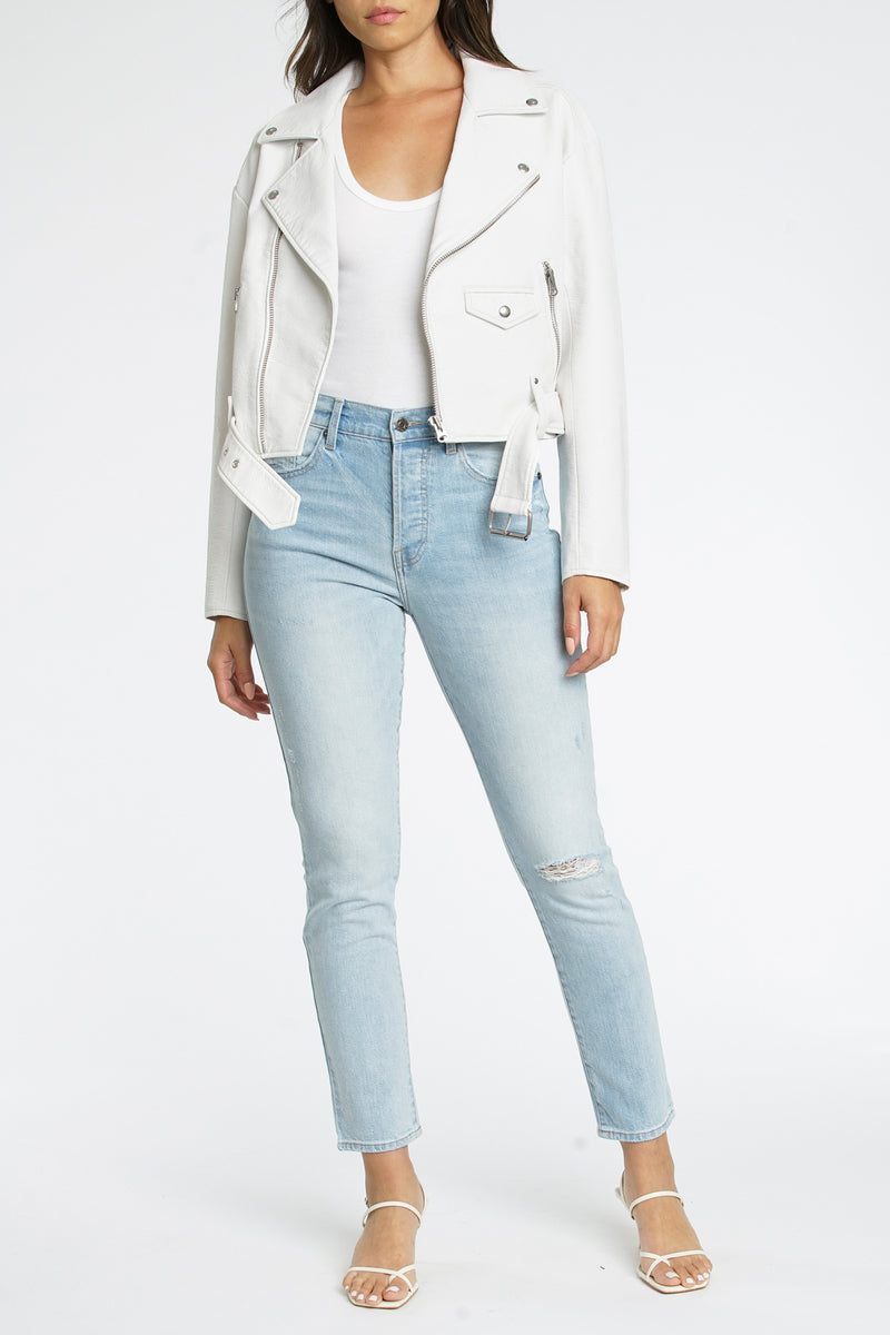 Daya Boyfriend Moto Jacket - White Light