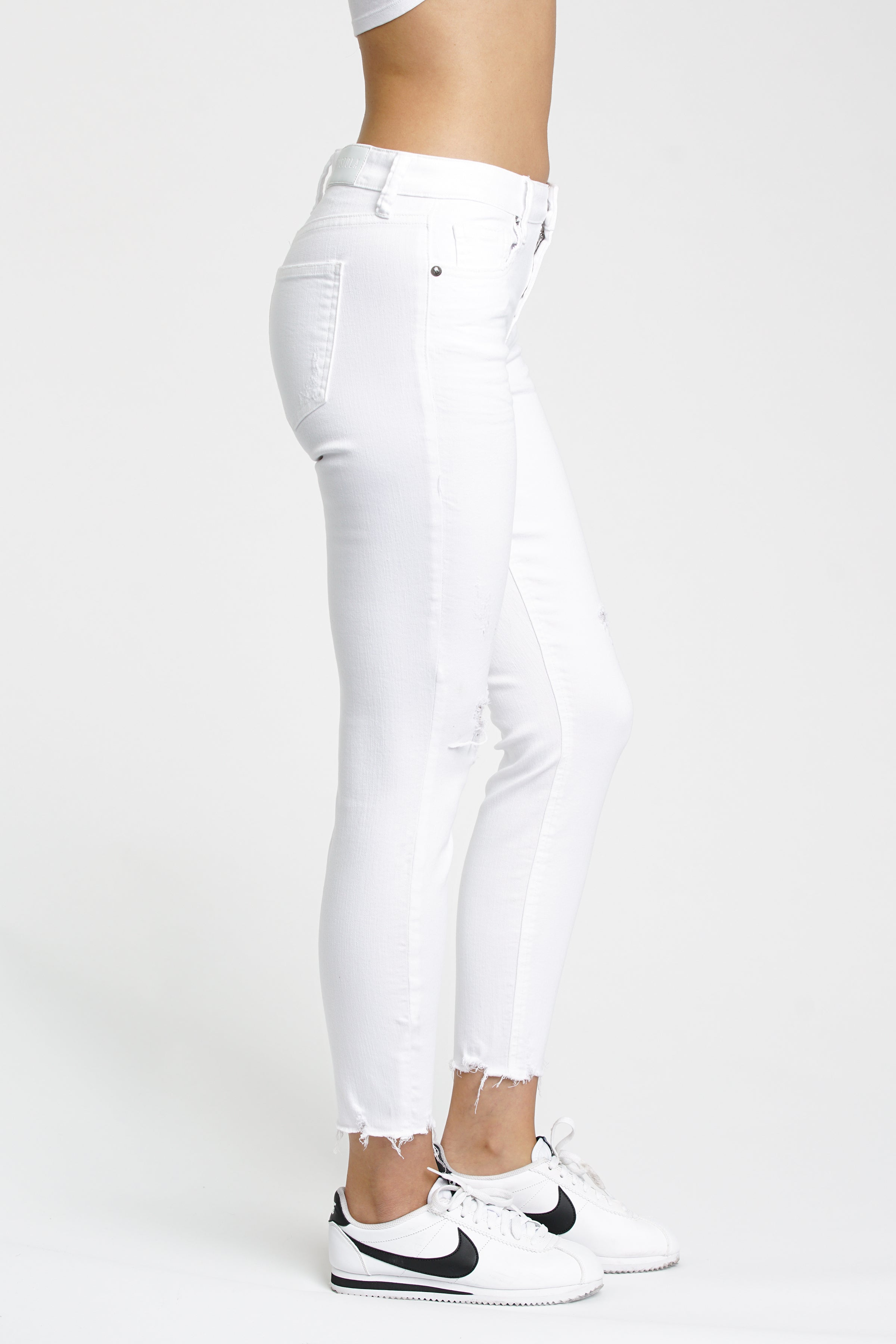 Audrey Mid Rise Skinny - White Lies