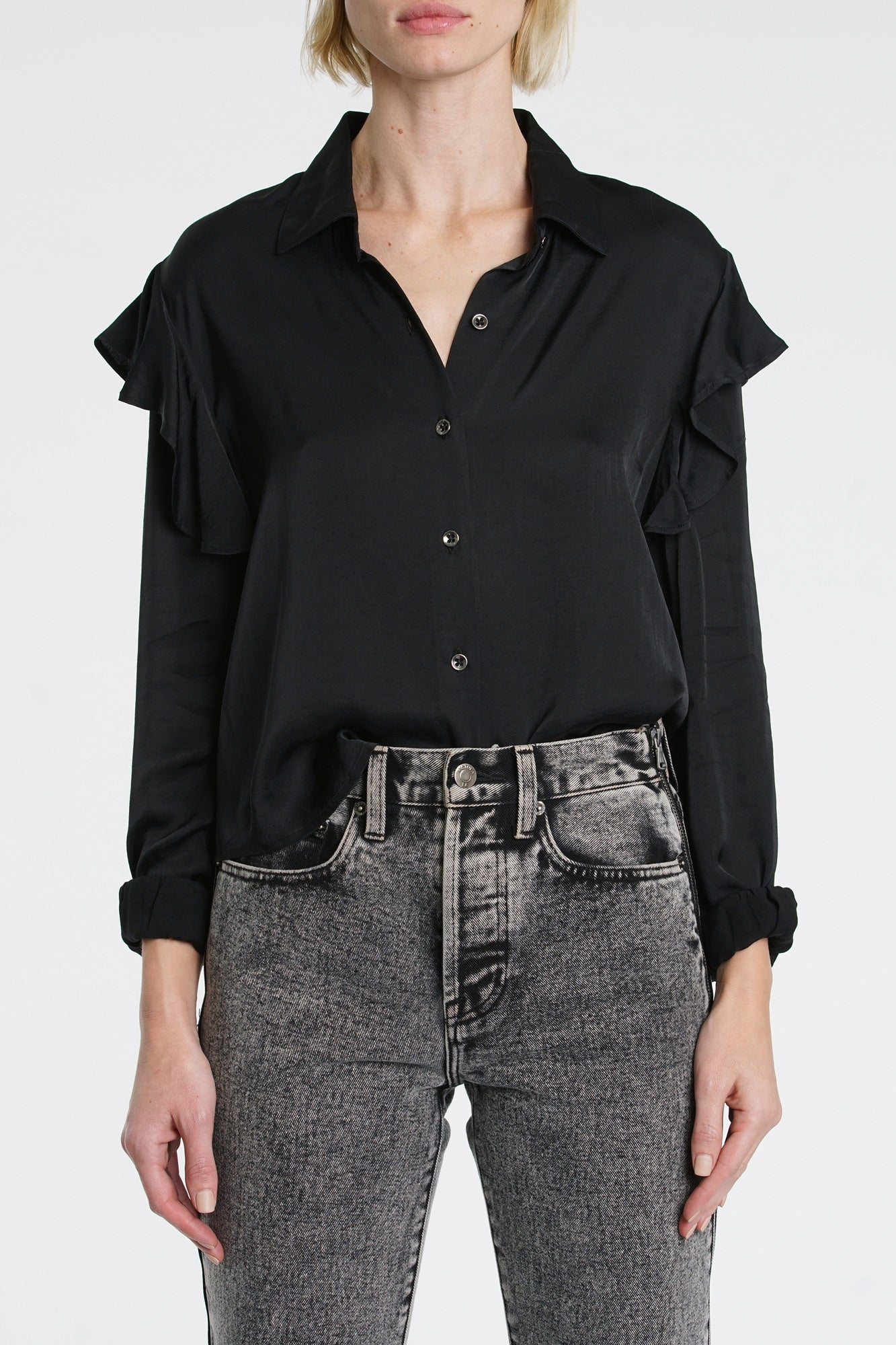 Rylan Long Sleeve Ruffle Button Up - Black