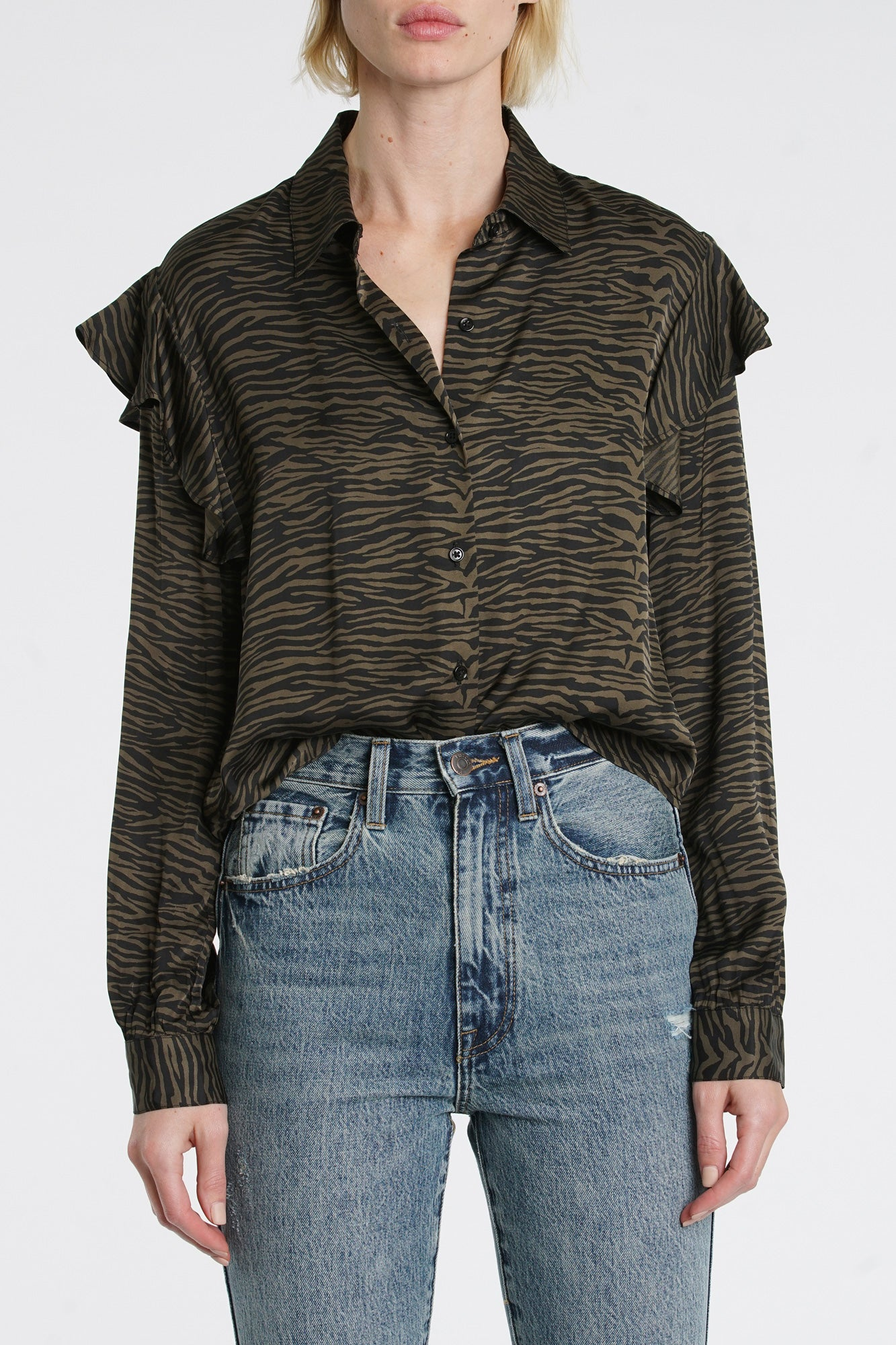 Rylan Long Sleeve Ruffle Button Up - Cadet Olive Tiger