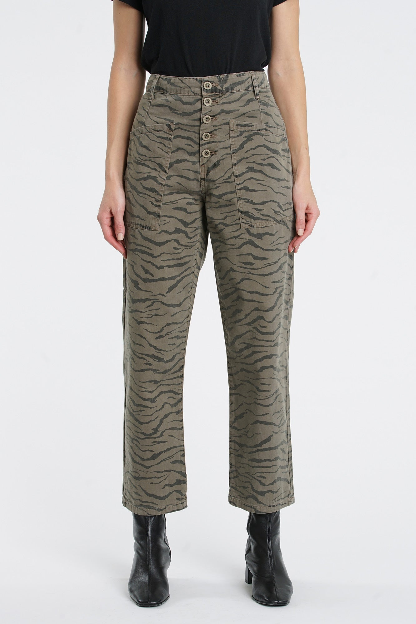 Tammy High Rise Trouser - Cadet Olive Tiger