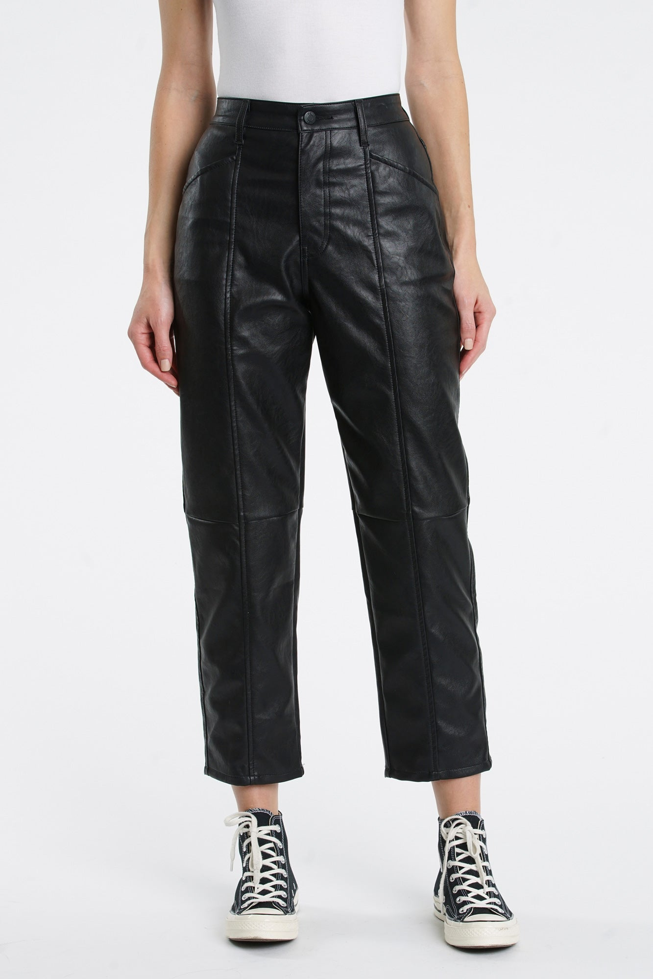 Tess Leather Utility Pant - Black