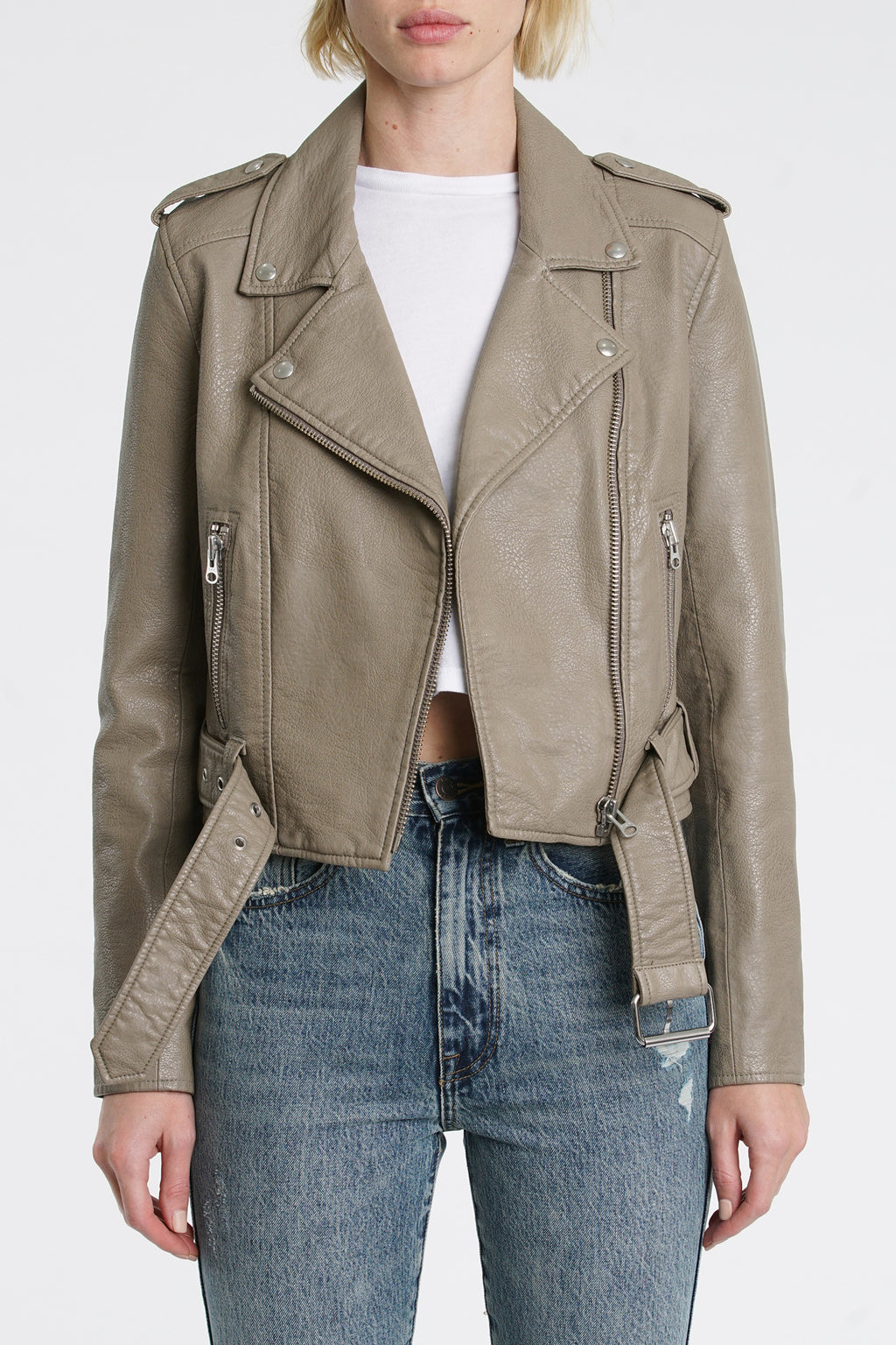 Tracy Cropped Moto Jacket - Elephant Grey