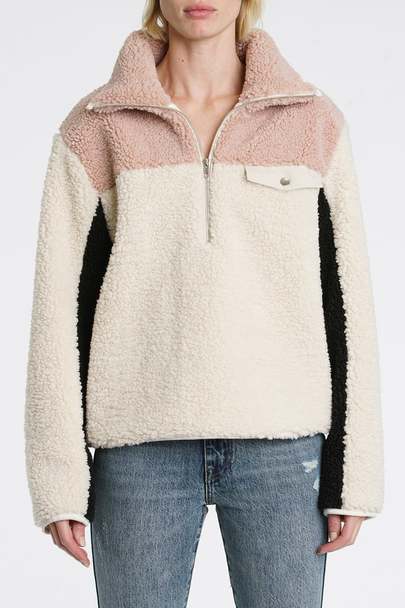 Zendaya Half Zip Sherpa Pullover - Party Lover