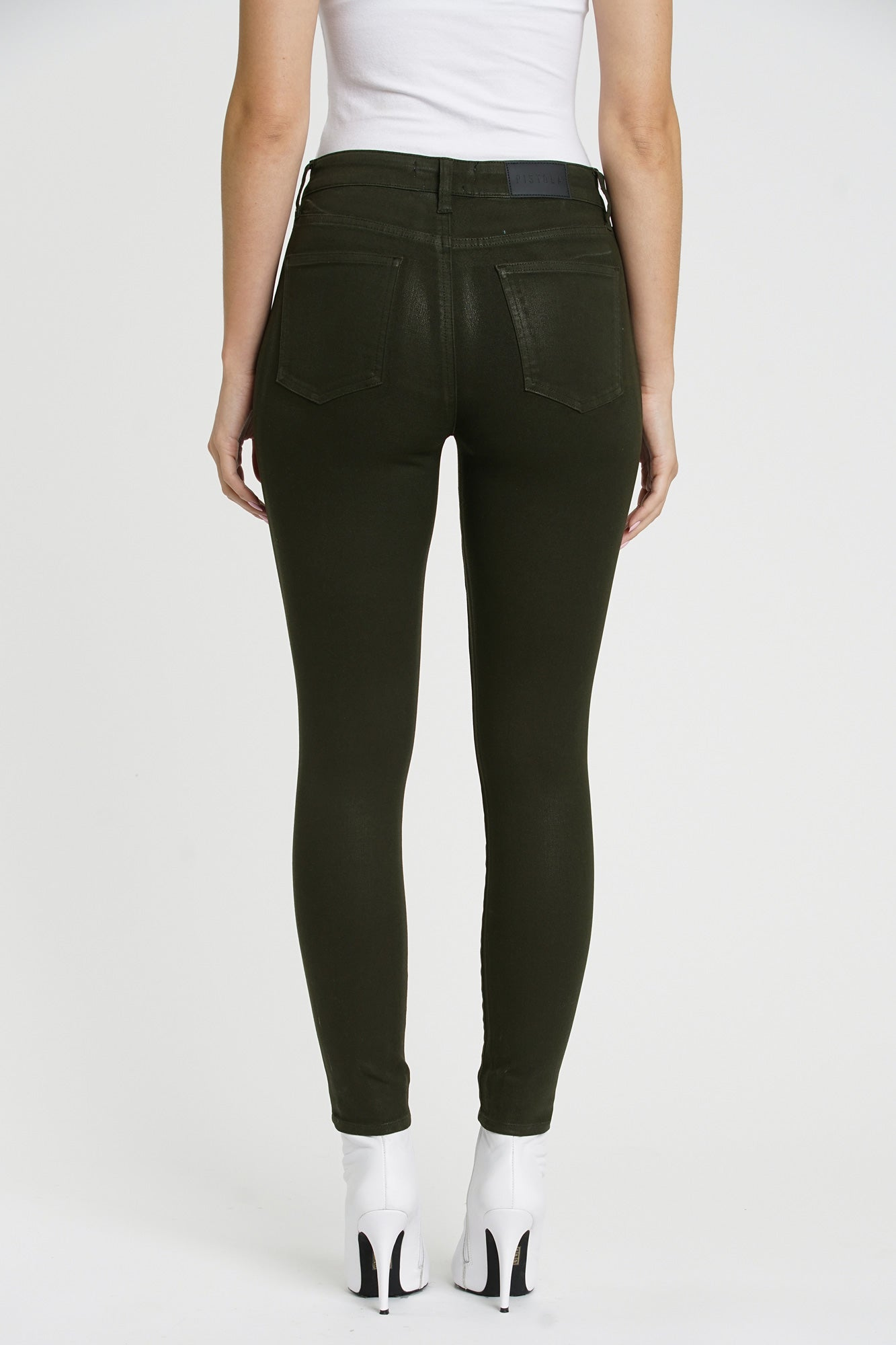 Aline High Rise Skinny - Coated Forest