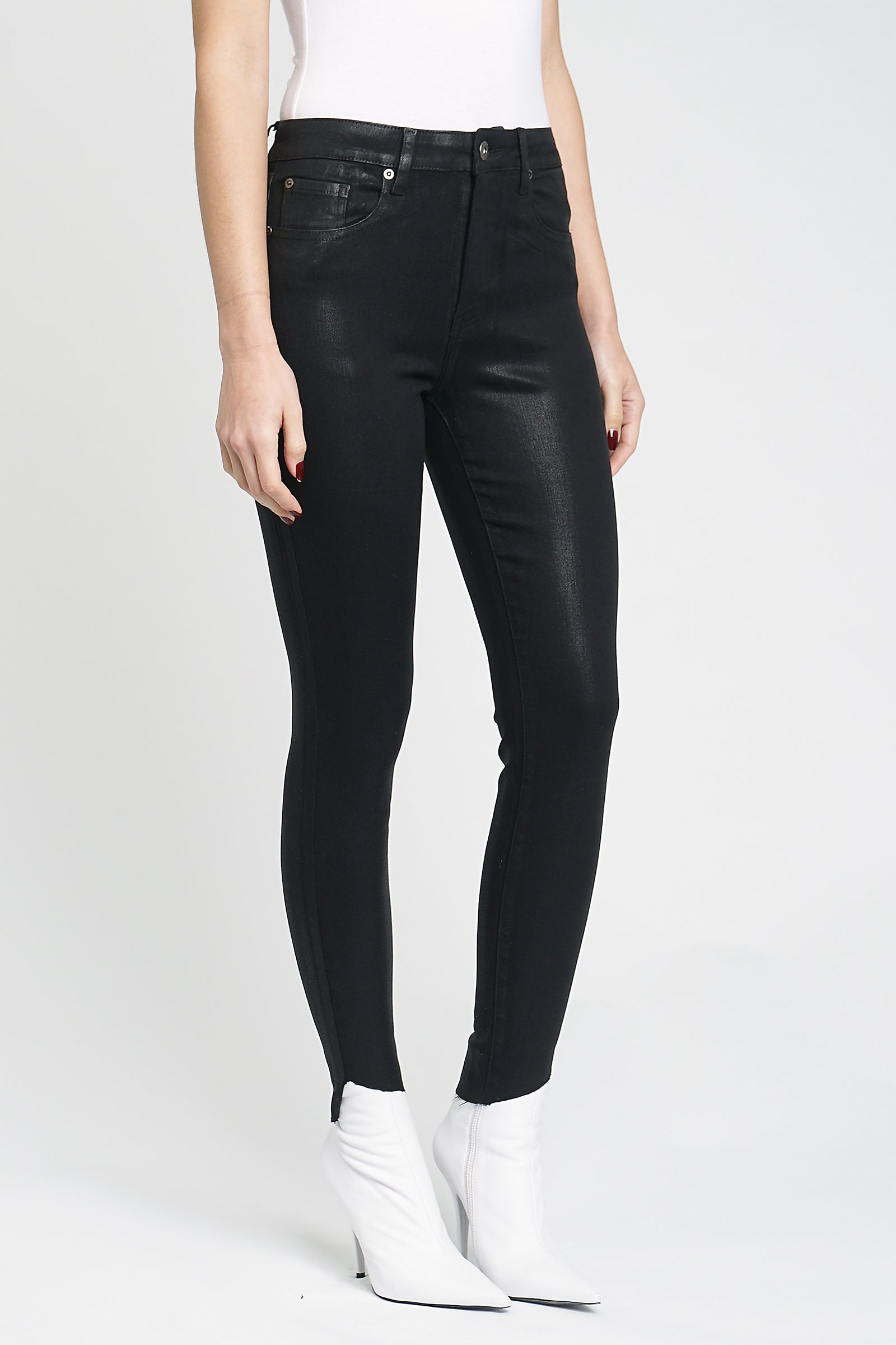 Aline High Rise Skinny - Coated Onyx